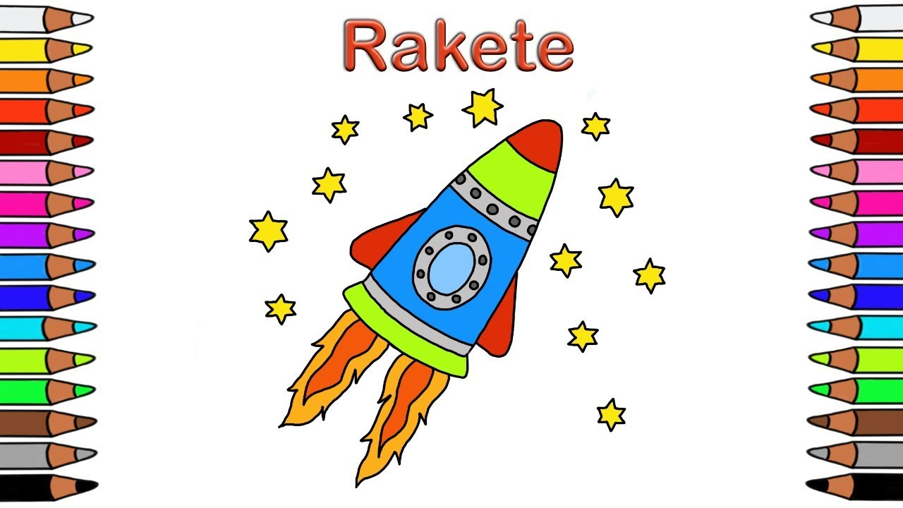 Malbuch Für Kinder 🎨 Ausmalbilder Für Kinder 🚀 Malen Für Kinder 🚀  Ausmalbilder 🚀 Rakete ganzes Vorlage Rakete Malen
