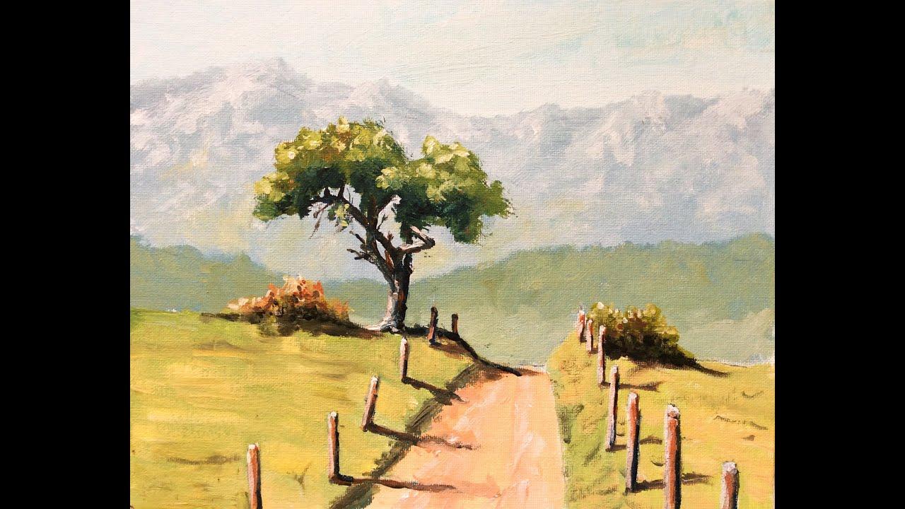Malen Mit Acryl: Baum Bergpanorama (Teil 1/2) ganzes Malvorlagen Acrylmalerei