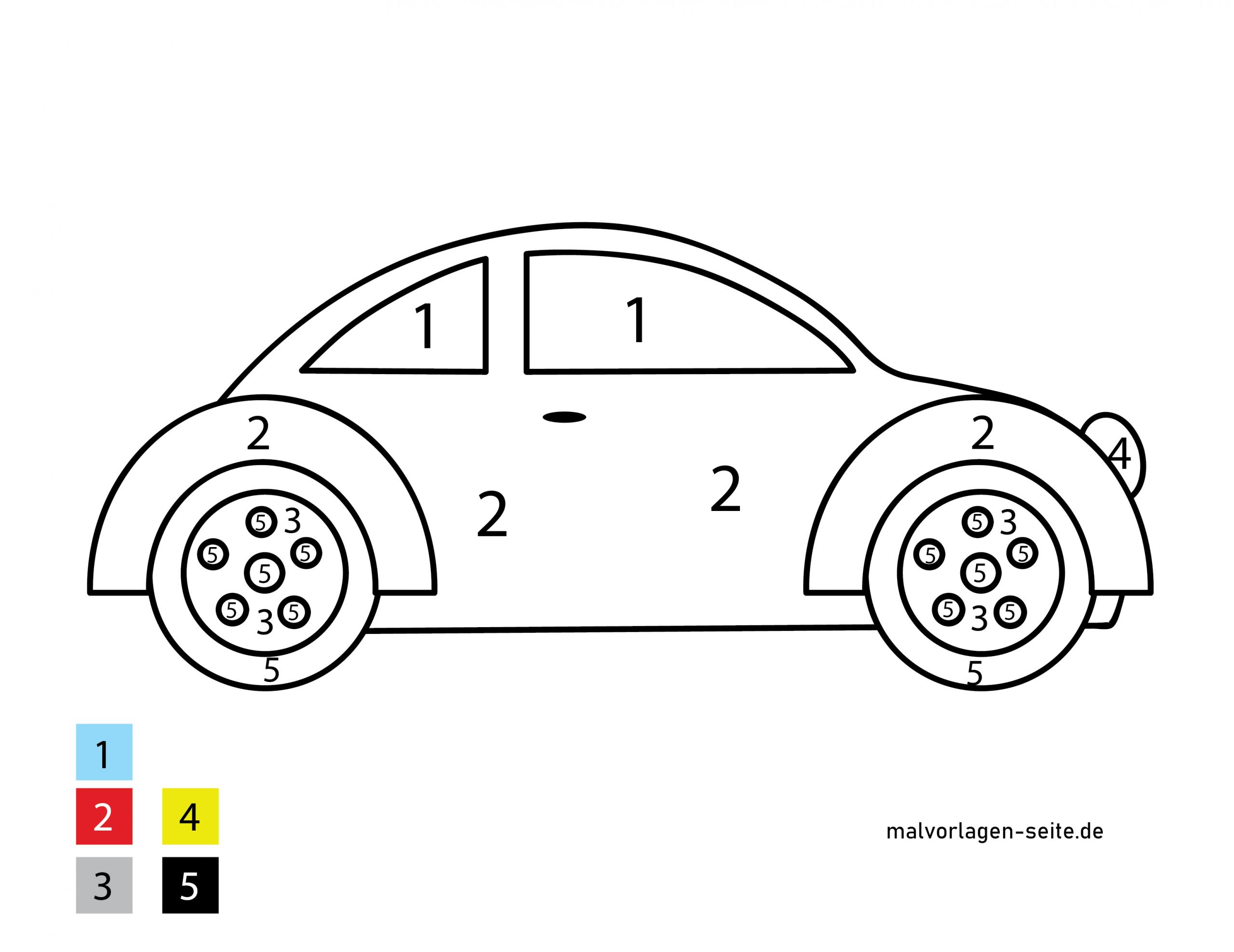 Malen Nach Zahlen - Auto - Ausmalbilder Kostenlos Herunterladen mit Malvorlage Auto Einfach