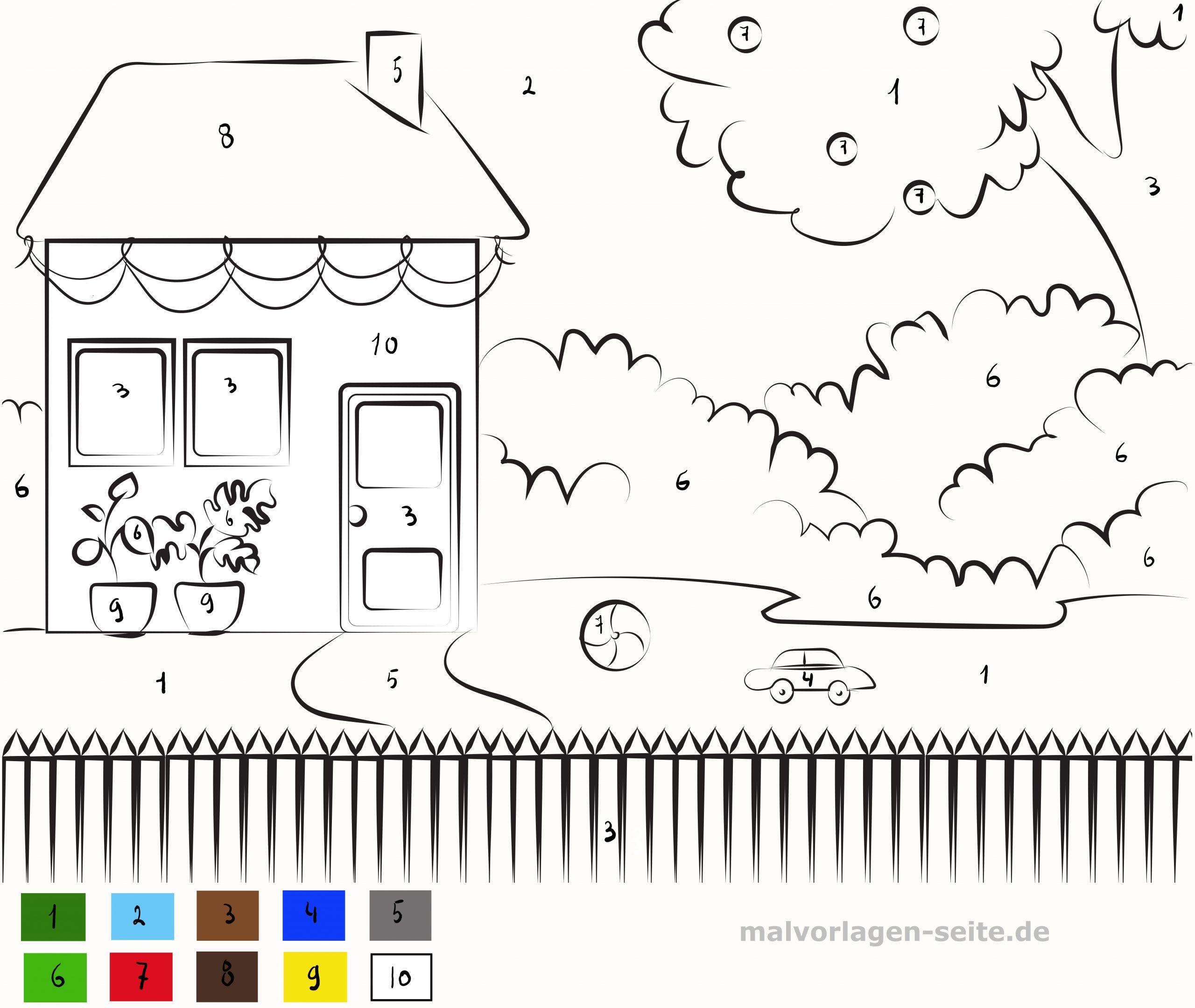 Malen Nach Zahlen Haus Mit Garten - Ausmalbilder Kostenlos über Malen Nach Zahlen Vorlagen Kostenlos Ausdrucken