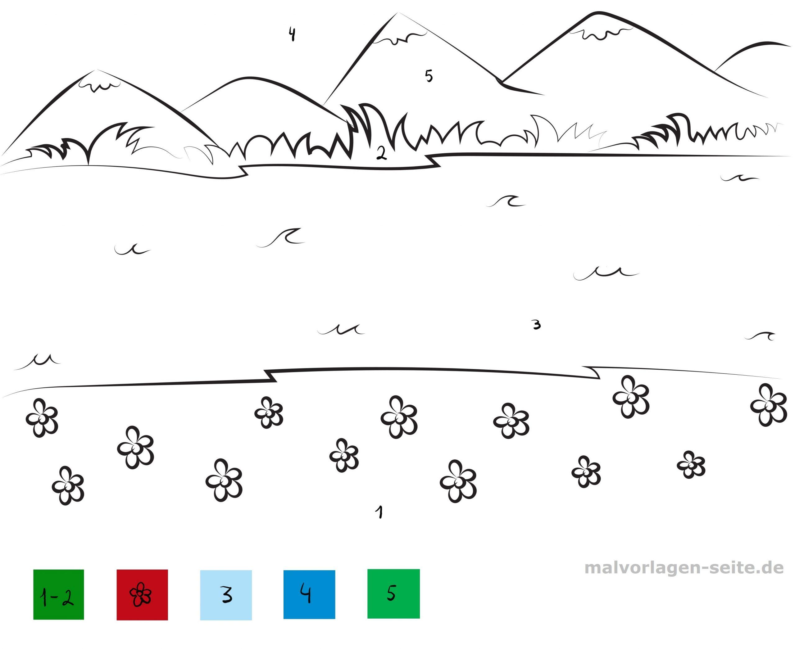 Malen Nach Zahlen Landschaft - Ausmalbilder Kostenlos über Zahlen Vorlagen Zum Ausdrucken Gratis