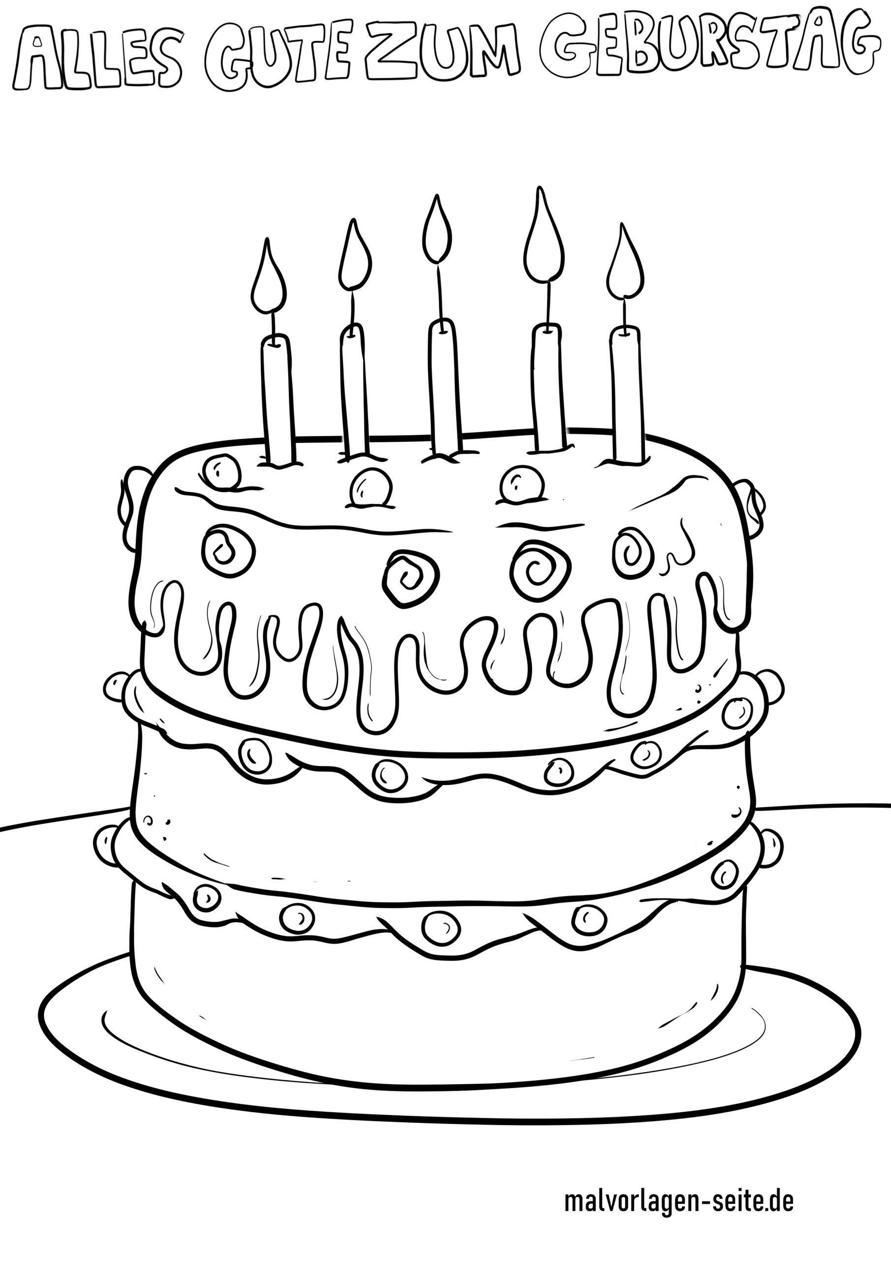 Malvorlage Alles Gute Zum Geburtstag - Ausmalbilder innen Ausmalbild Torte