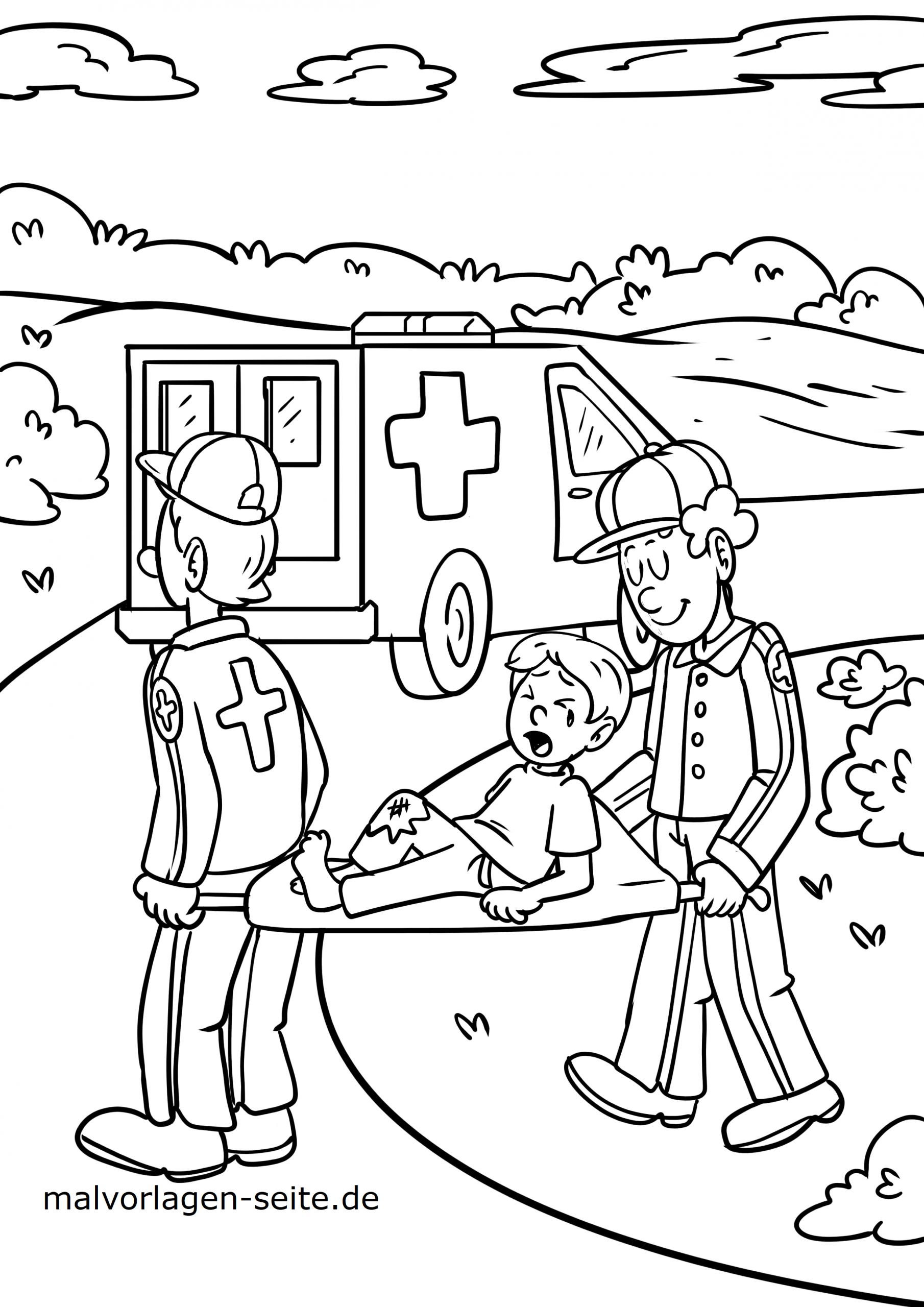 Malvorlage Arzt Sanitäter - Ausmalbilder Kostenlos Herunterladen bestimmt für Krankenwagen Ausmalbild