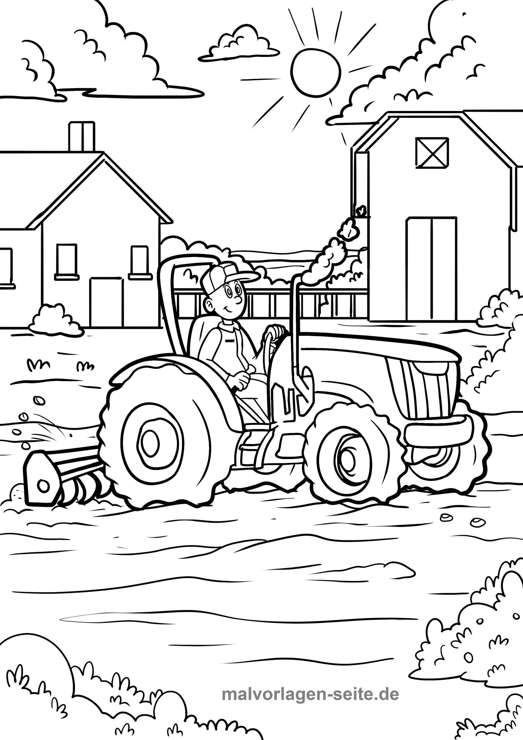 Malvorlage Bauernhof Traktor - Ausmalbilder Kostenlos über Bauernhof Ausmalbilder