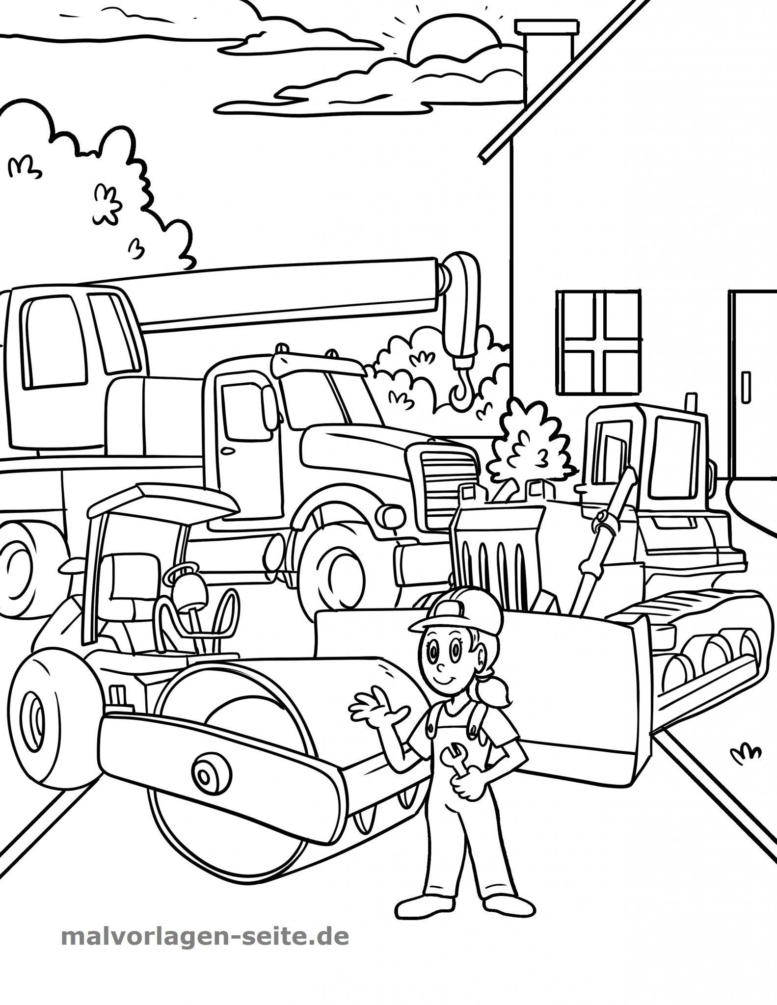 ausmalbilder baustellenfahrzeuge  kinderbilderdownload