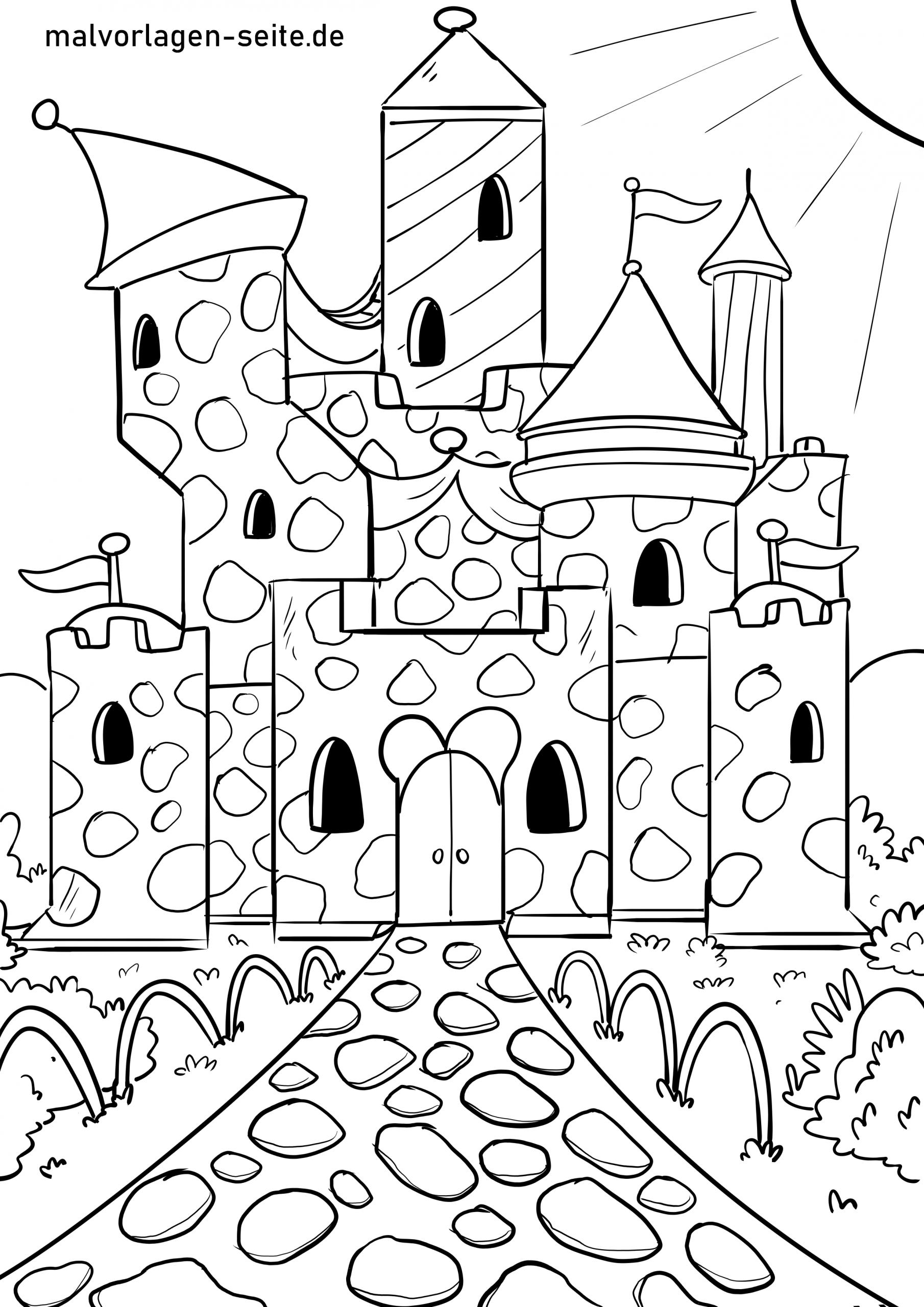 Malvorlage Burg - Ausmalbilder Kostenlos Herunterladen bei Ausmalbild Burg