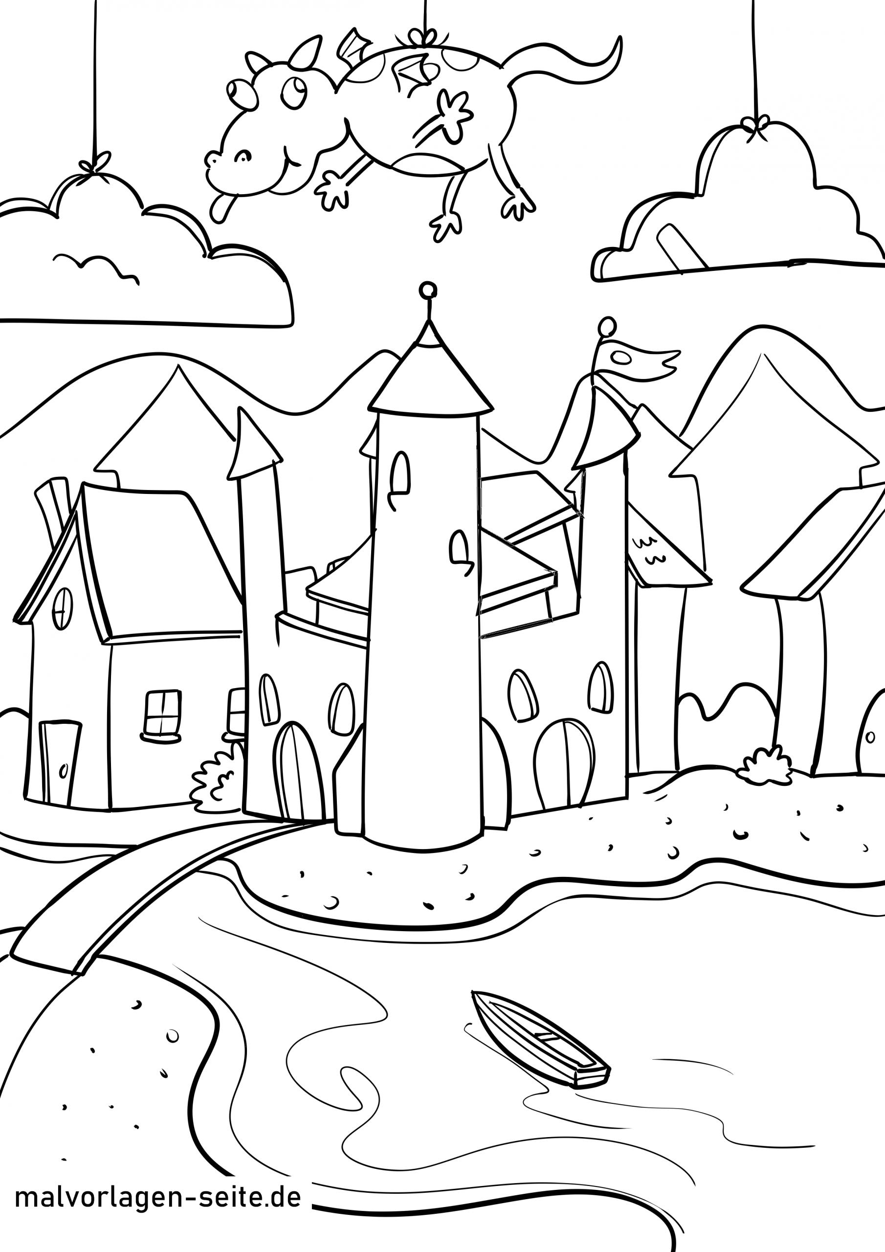 Malvorlage Burg - Ausmalbilder Kostenlos Herunterladen innen Ausmalbild Burg