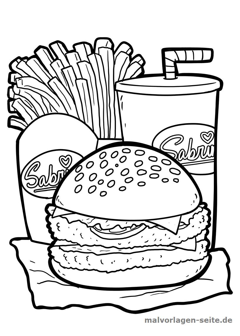 Malvorlage Burger | Essen - Ausmalbilder Kostenlos Herunterladen bei Ausmalbilder Essen