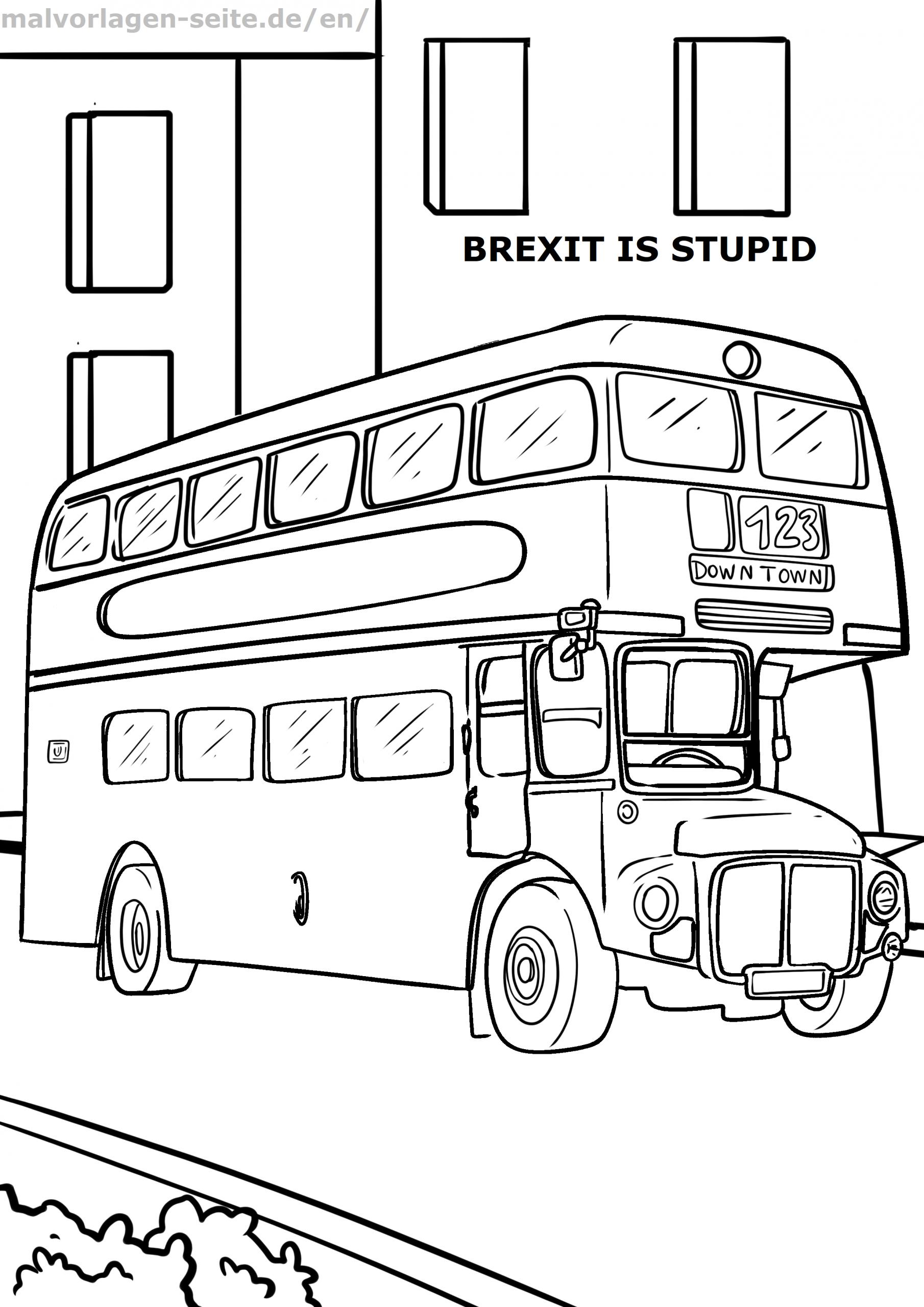 Malvorlage Doppeldecker Bus | Fahrzeuge - Ausmalbilder in Ausmalbild Bus