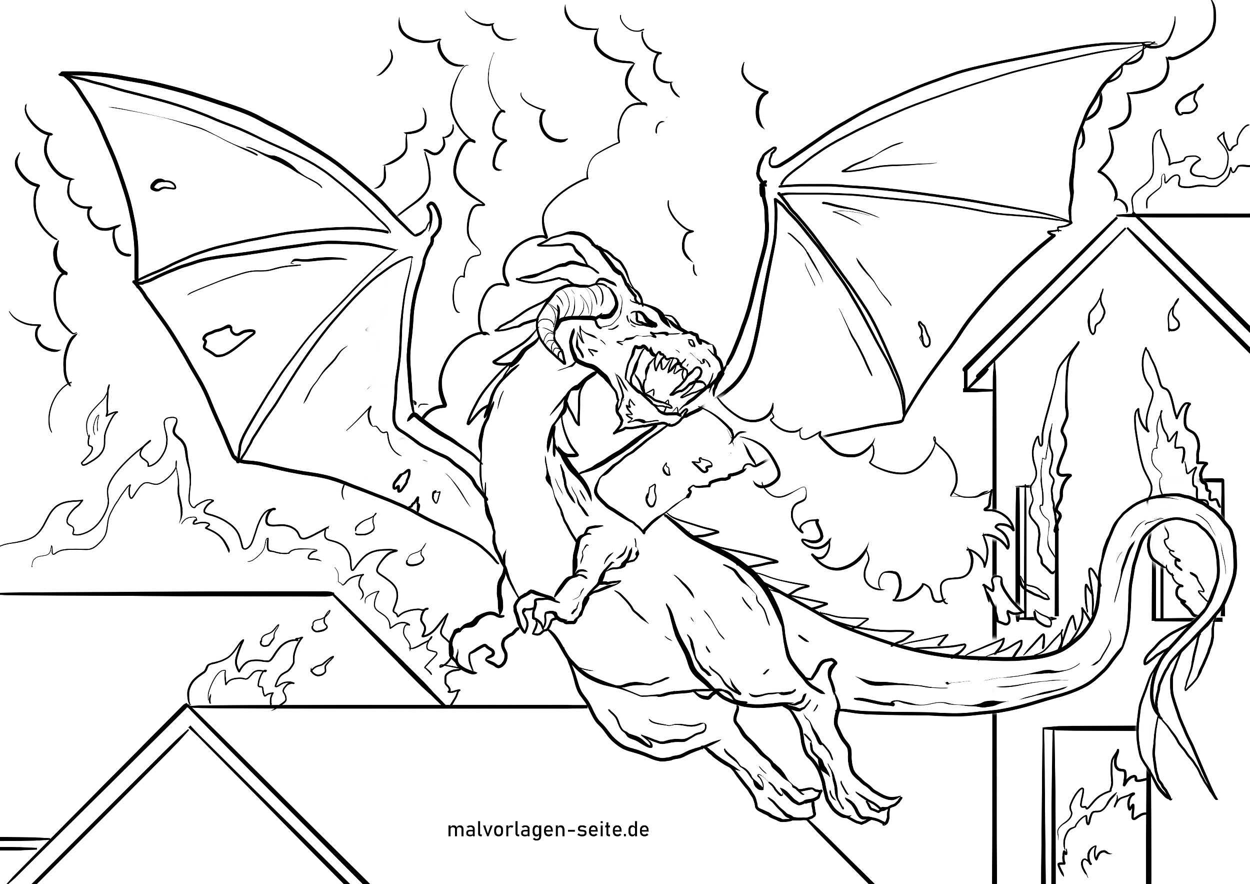 Malvorlage Drachen | Fabelwesen - Ausmalbilder Kostenlos verwandt mit Malvorlage Drachen Herbst