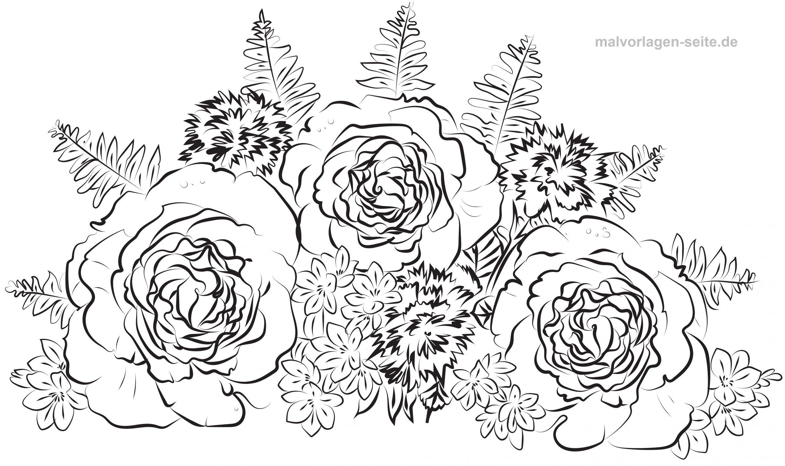Malvorlage Erwachsene Rosen Blumenstrauß - Ausmalbilder bestimmt für Rose Malvorlage