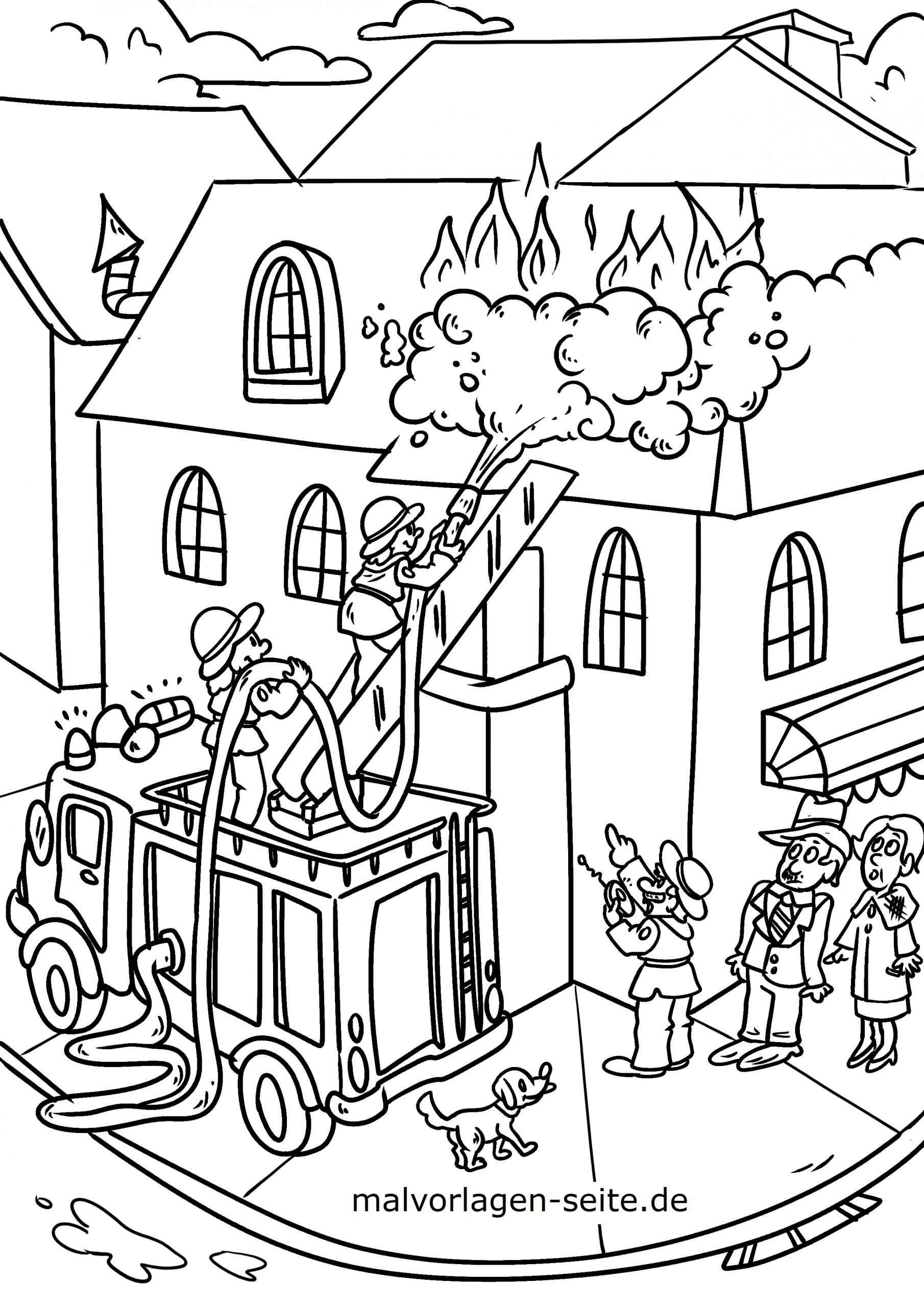 Malvorlage Feuerwehr - Ausmalbilder Kostenlos Herunterladen innen Feuerwehr Bilder Zum Ausmalen