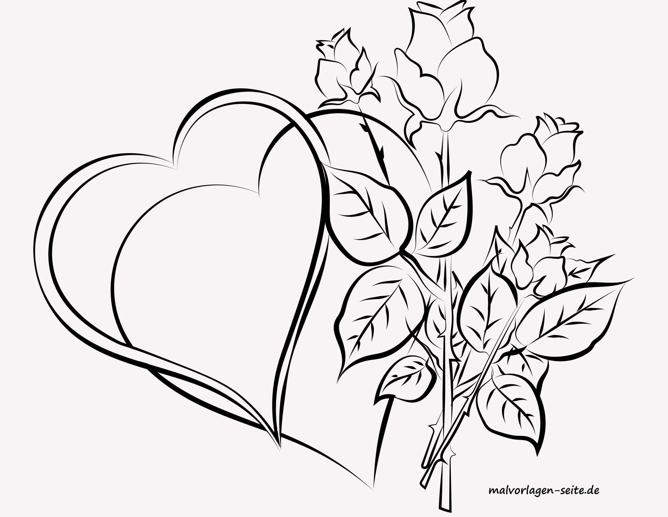Malvorlage Für Erwachsene Herzen Und Rosen - Ausmalbilder in Rose Ausmalbild