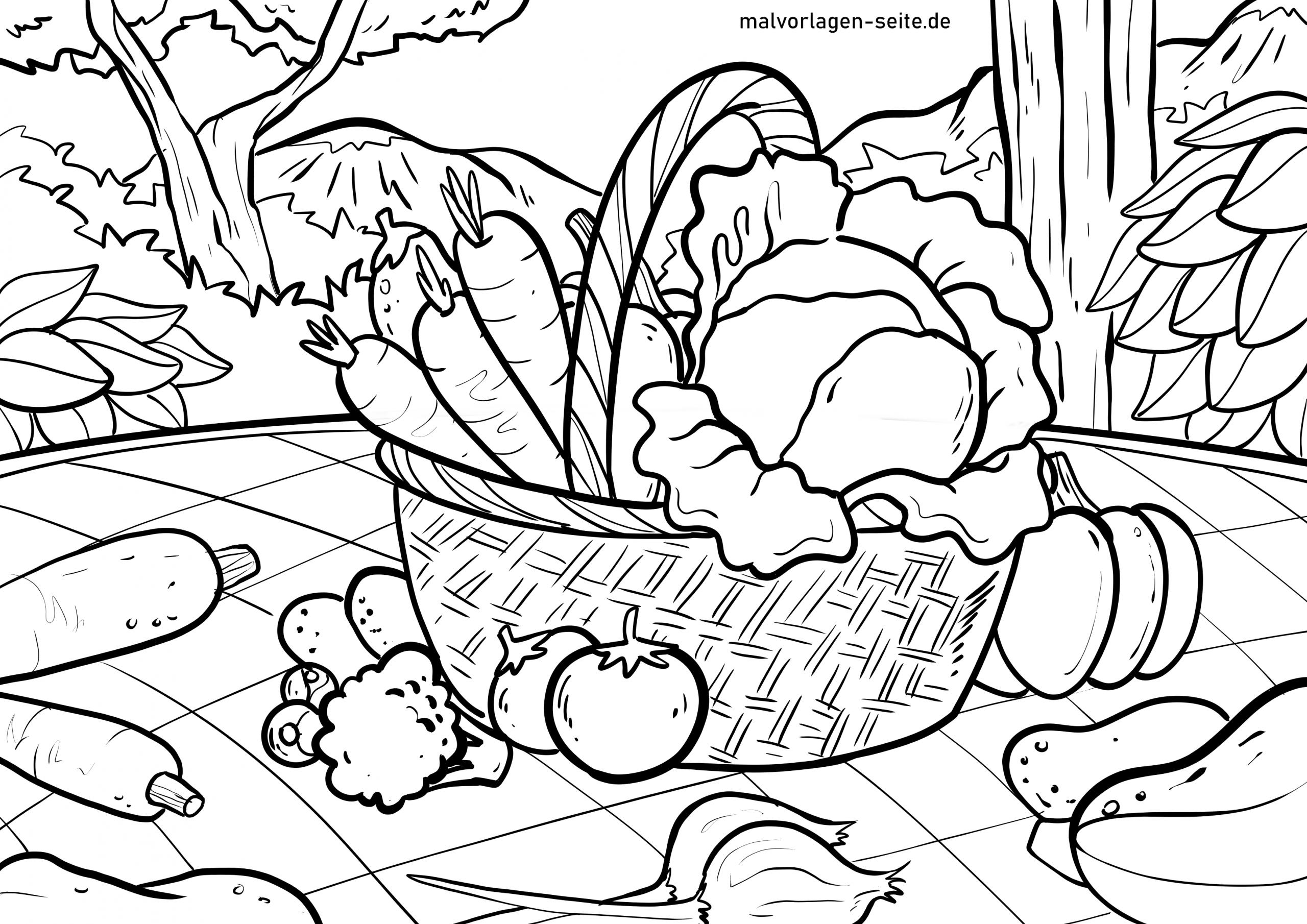 Malvorlage Gemüse | Essen - Ausmalbilder Kostenlos Herunterladen bei Ausmalbilder Gemüse