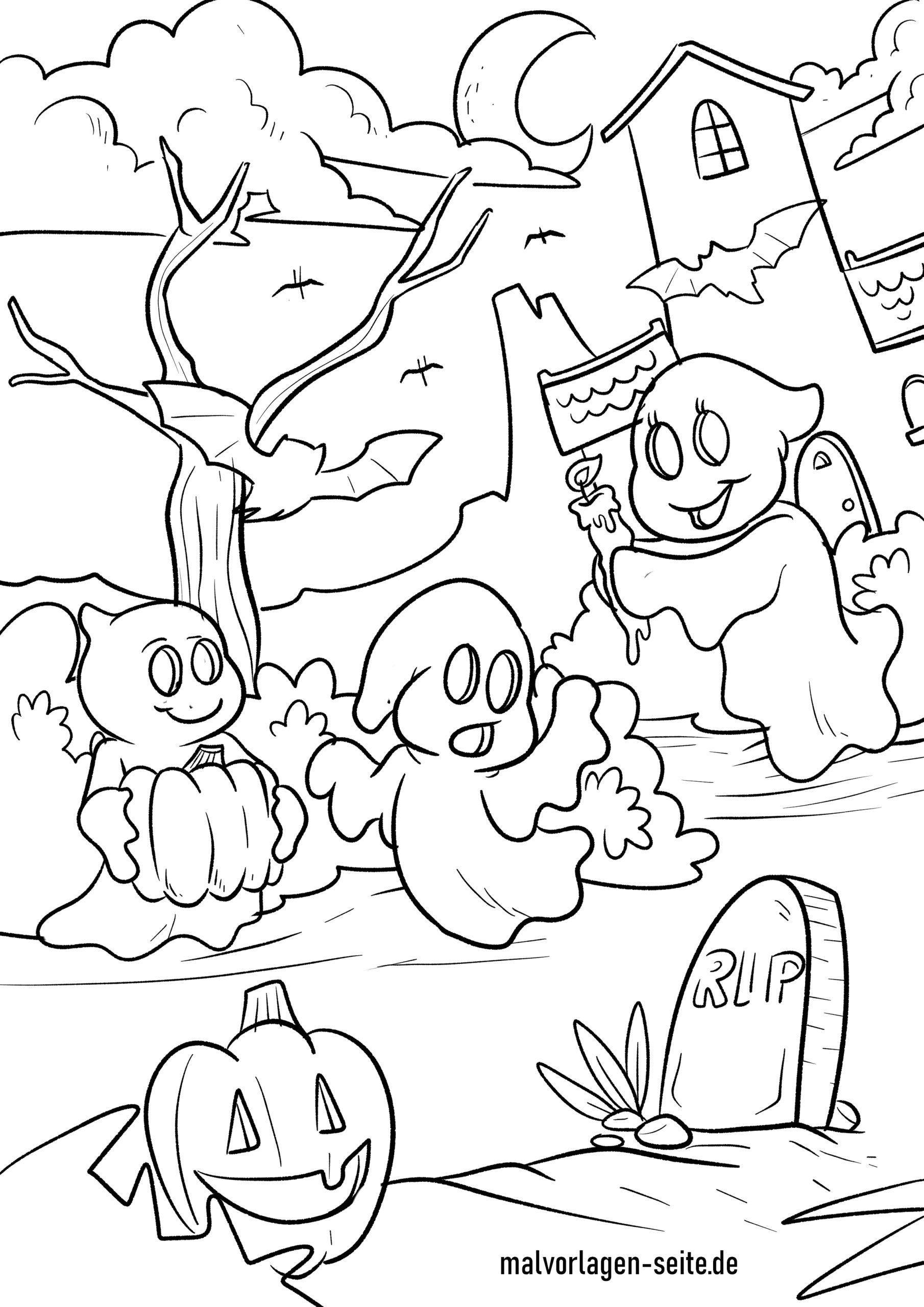 Malvorlage Halloween Gespenster - Ausmalbilder Kostenlos bei Gratis Malvorlagen Halloween