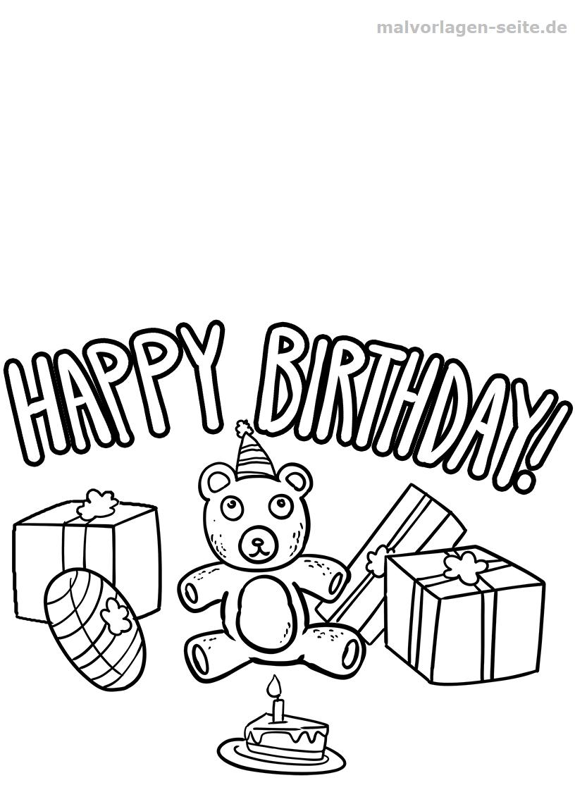 Malvorlage Happy Birthday | Geburtstag - Ausmalbilder ganzes Happy Birthday Ausmalbilder Kostenlos