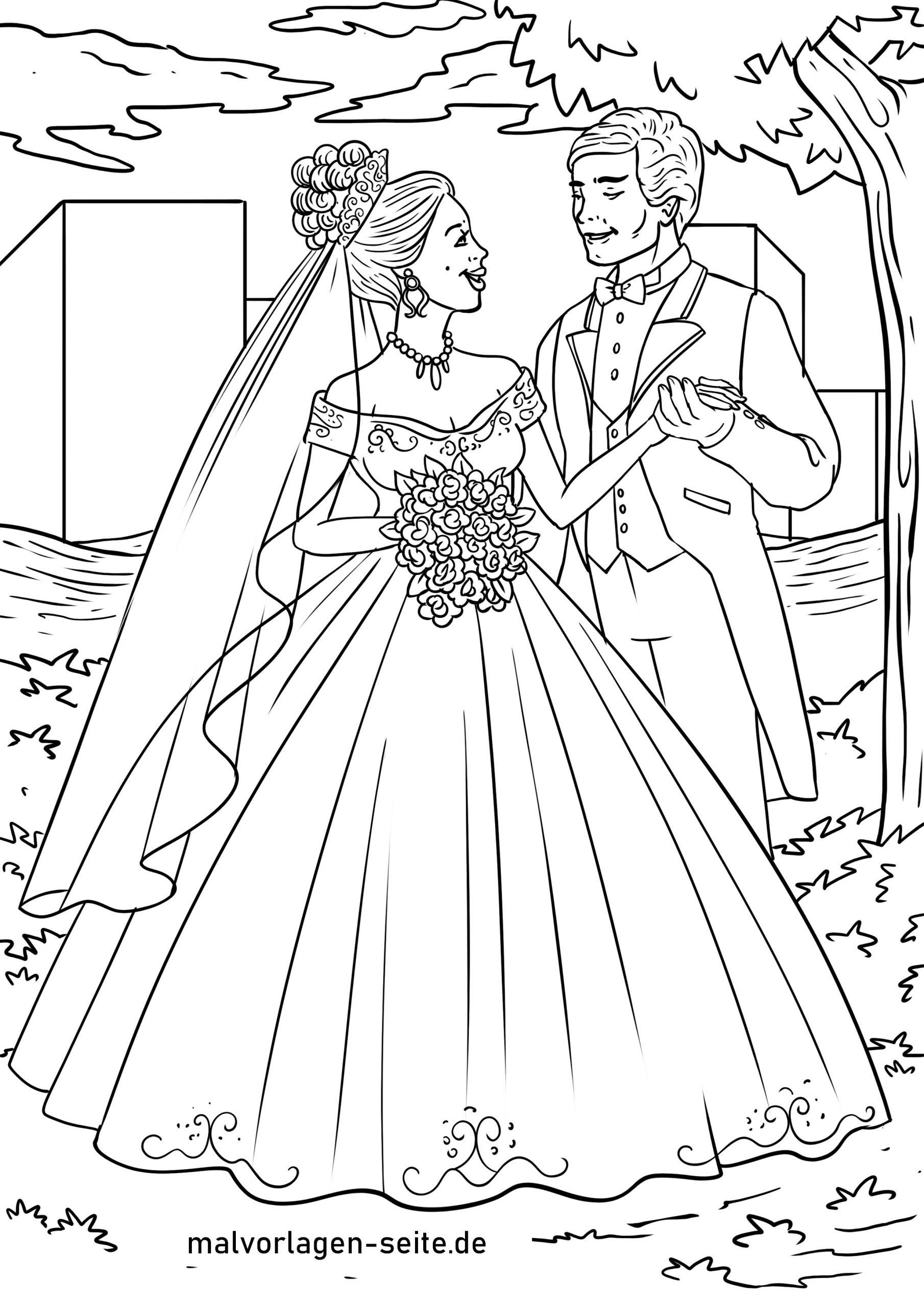 Malvorlage Hochzeit Brautpaar - Ausmalbilder Kostenlos mit Hochzeitsbilder Zum Ausmalen