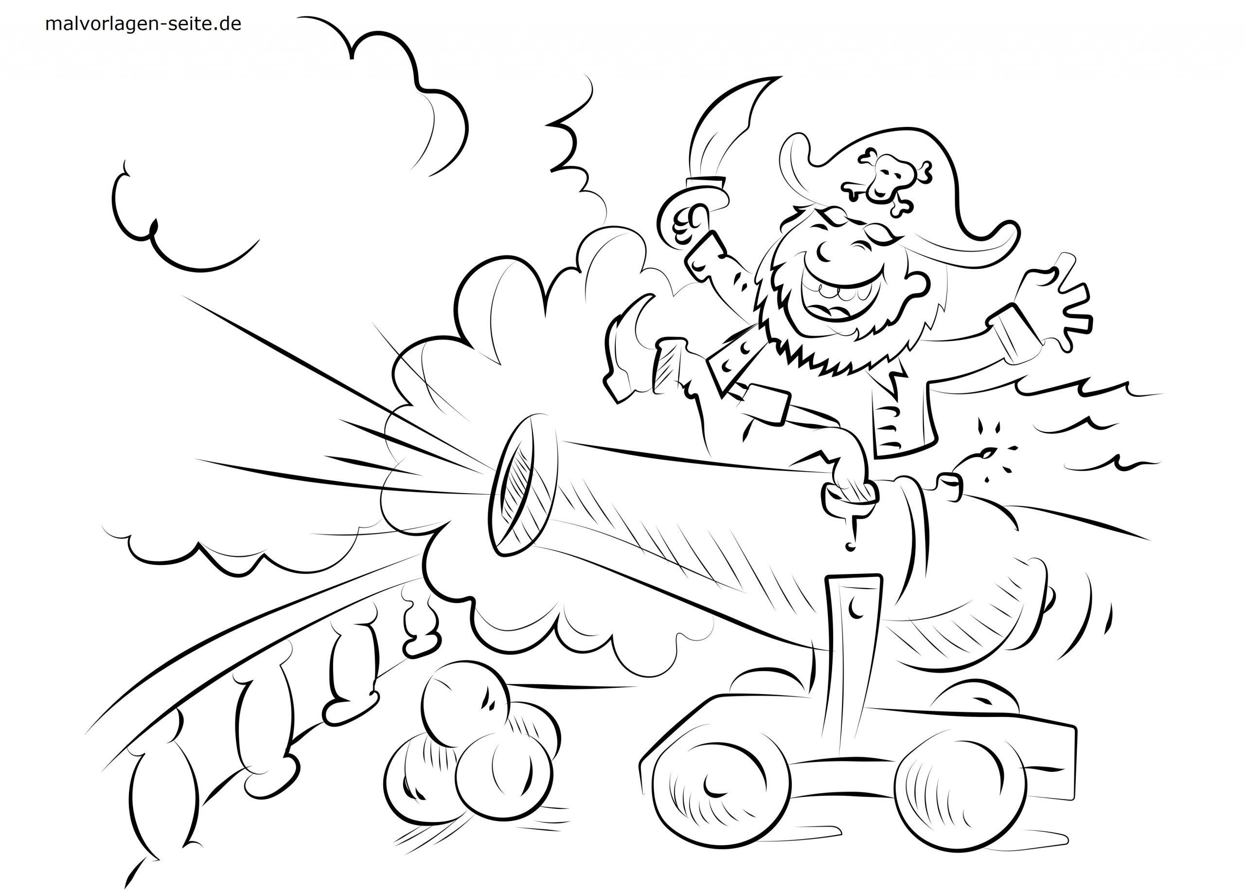 Malvorlage Kanone Und Pirat | Piraten - Ausmalbilder in Pirat Malvorlage