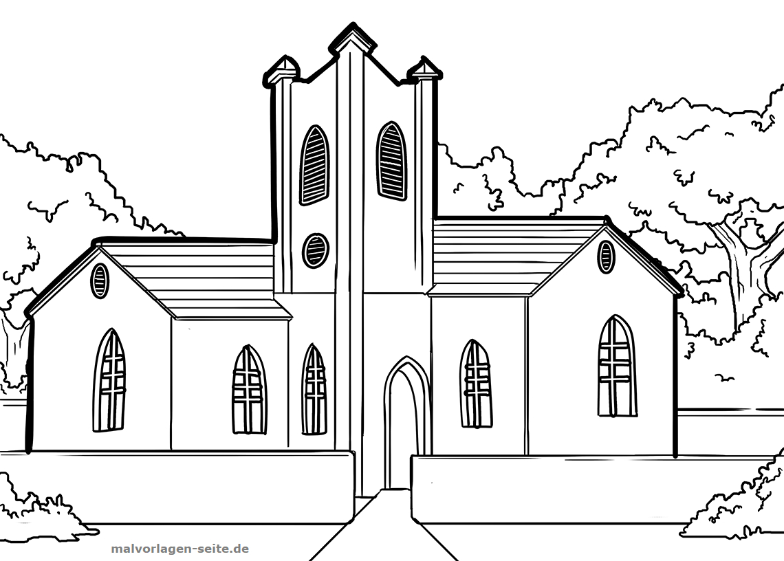 Malvorlage Kirche | Gebäude - Ausmalbilder Kostenlos in Ausmalbild Kirche