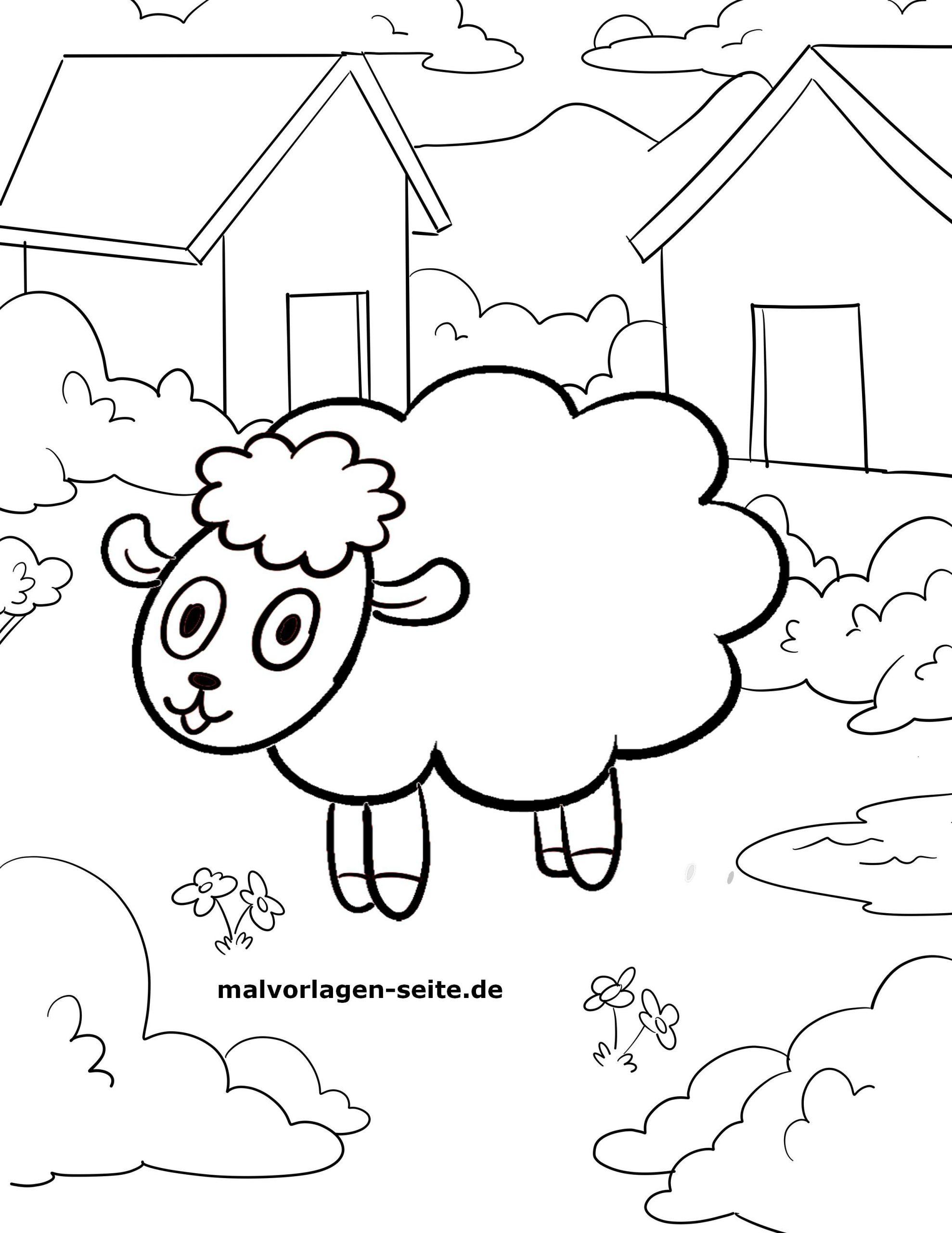 Malvorlage Kleine Kinder - Schaf - Ausmalbilder Kostenlos in Schaf Malen