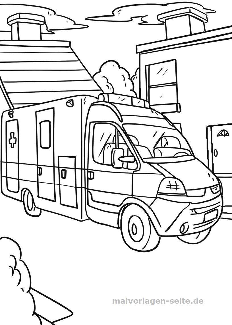 Malvorlage Krankenwagen | Fahrzeuge - Ausmalbilder Kostenlos über Krankenwagen Ausmalbild