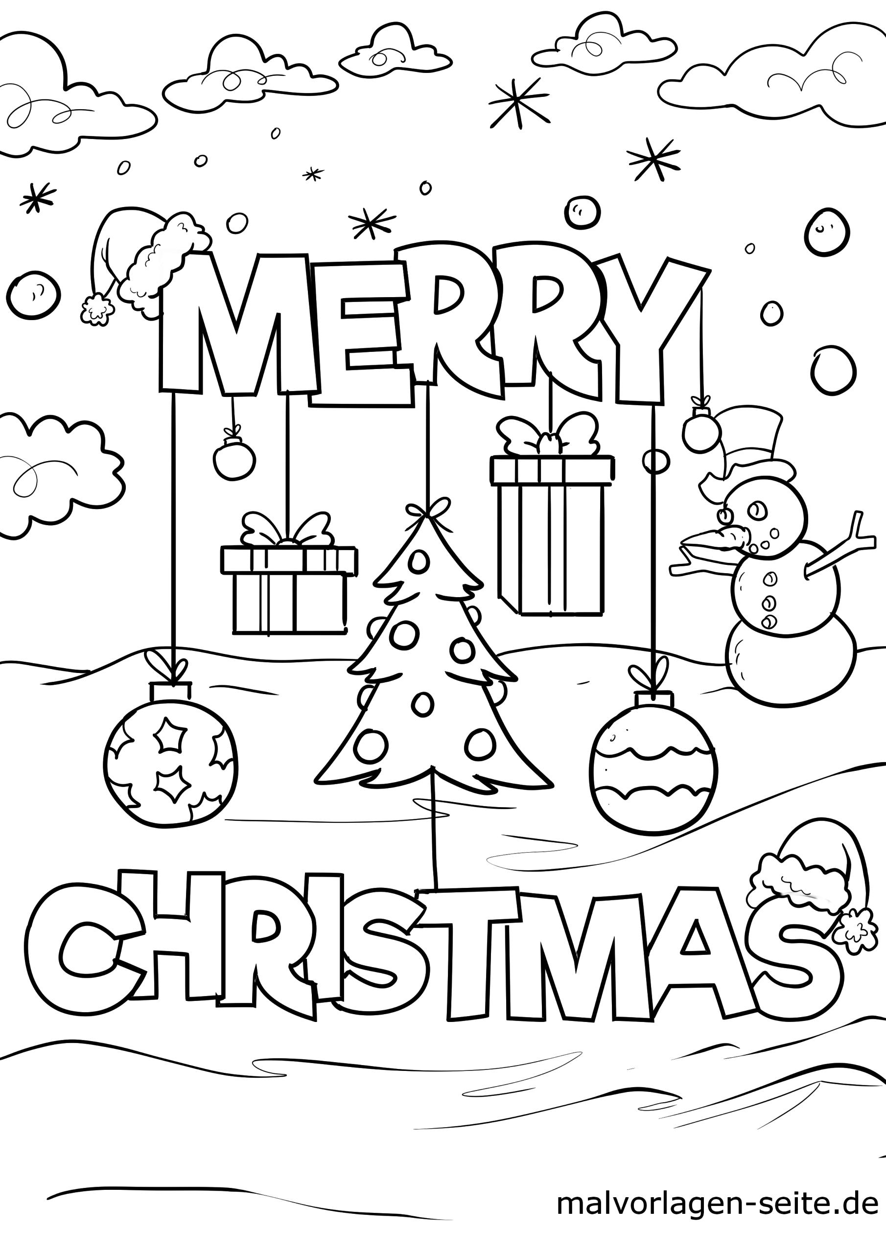 Malvorlage Merry Christmas | Weihnachten - Ausmalbilder in Malvorlagen Weihnachten Kostenlos