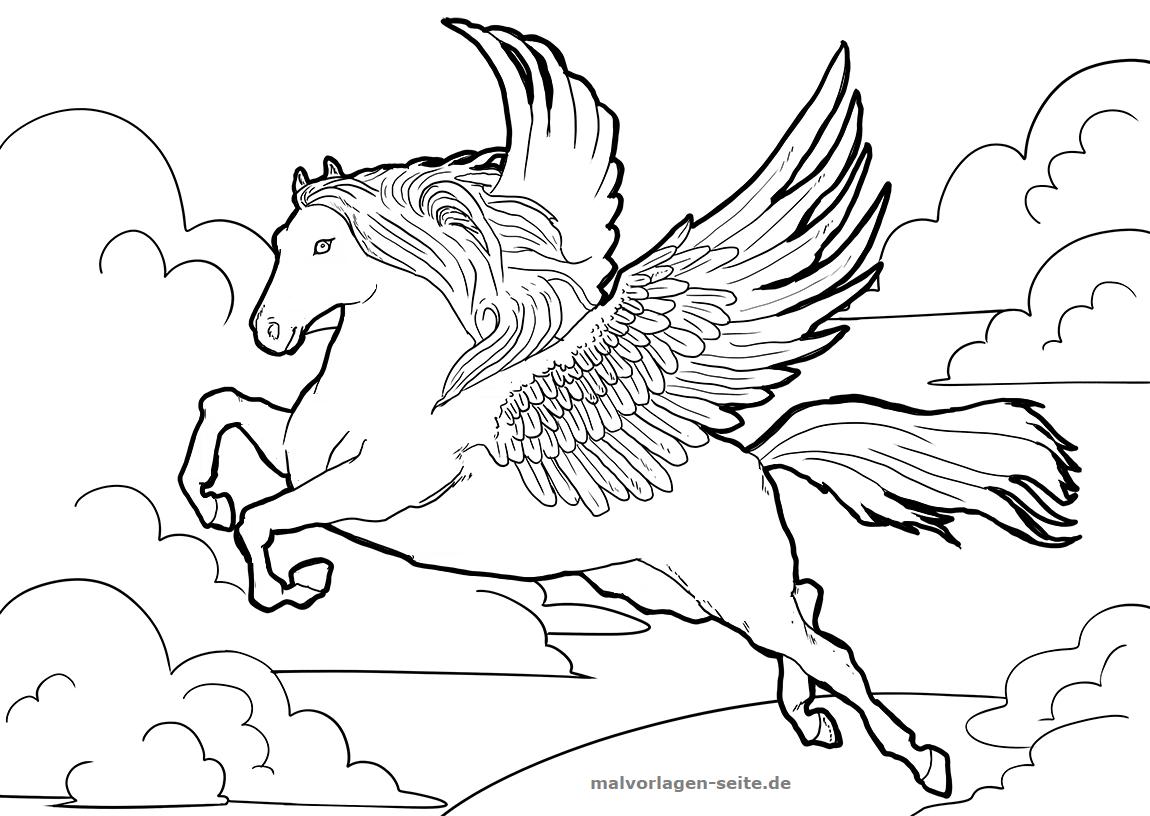 Malvorlage Pegasus | Fabelwesen - Ausmalbilder Kostenlos mit Pegasus Ausmalbilder Zum Ausdrucken