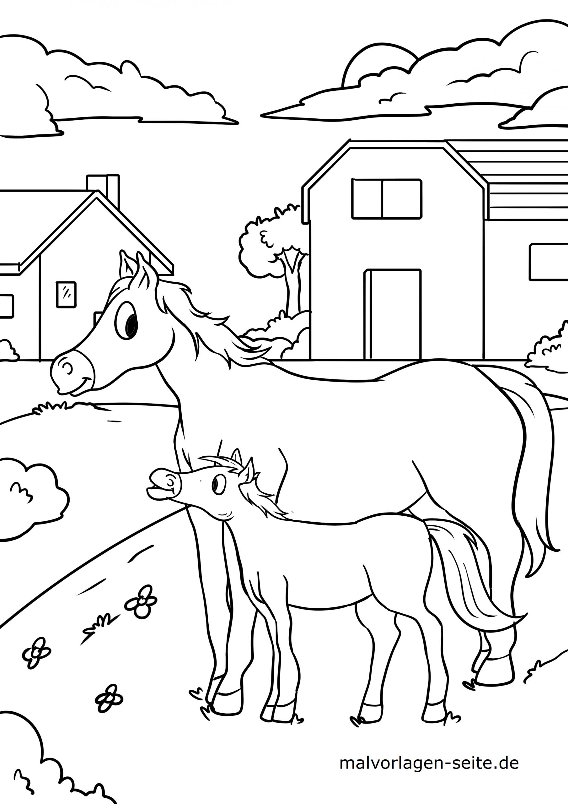 ausmalbild pferd kostenlos  kinderbilderdownload