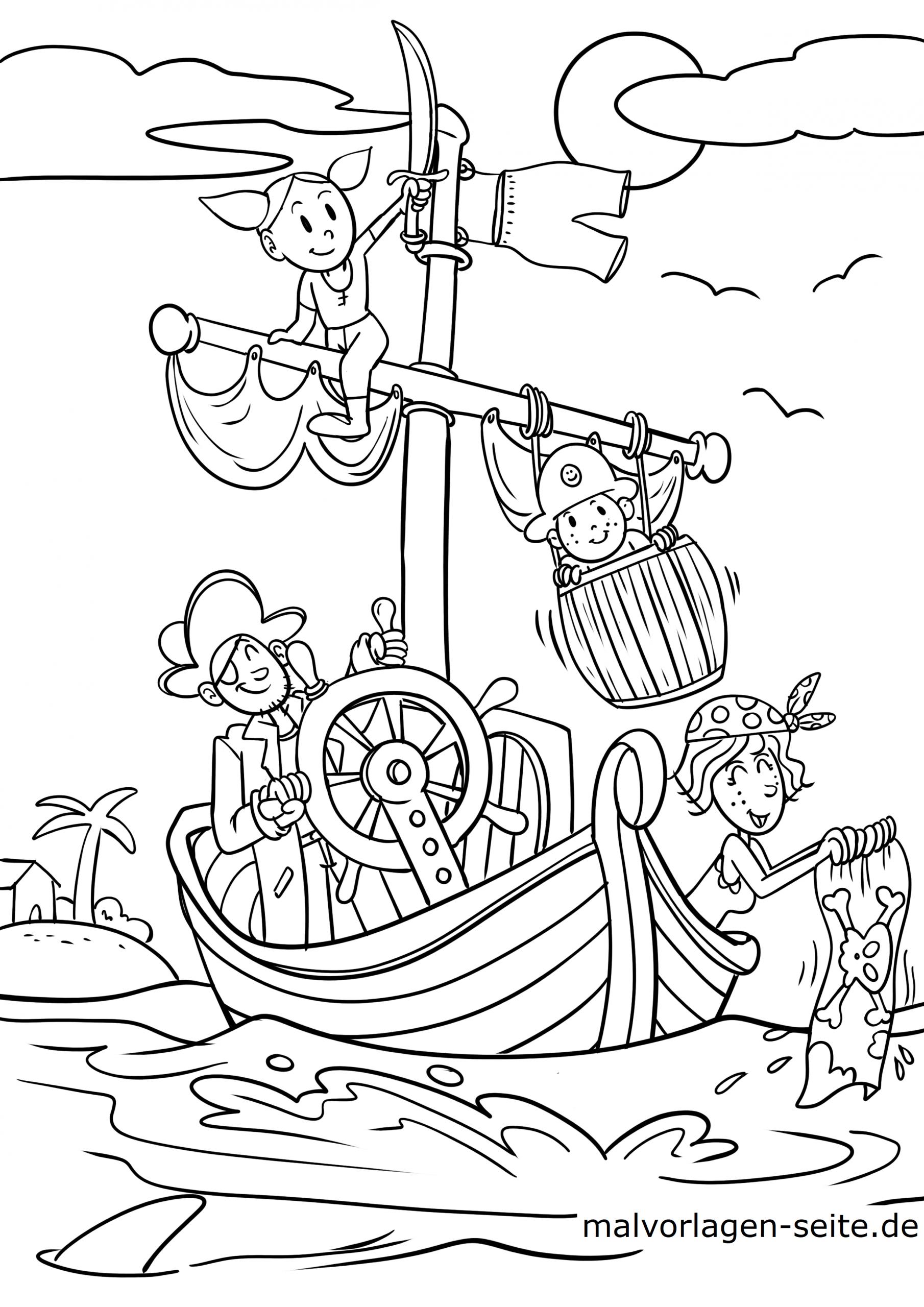 Malvorlage Pirat - Ausmalbilder Kostenlos Herunterladen für Ausmalbilder Piraten
