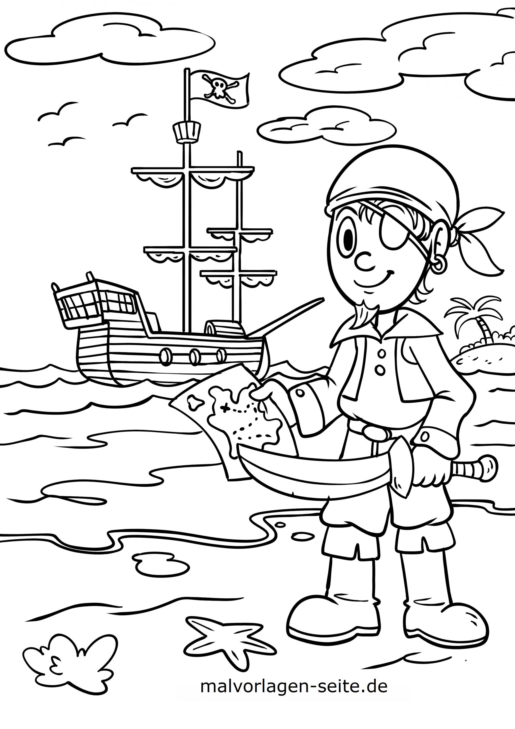Malvorlage Pirat - Ausmalbilder Kostenlos Herunterladen in Piraten Ausmalbilder