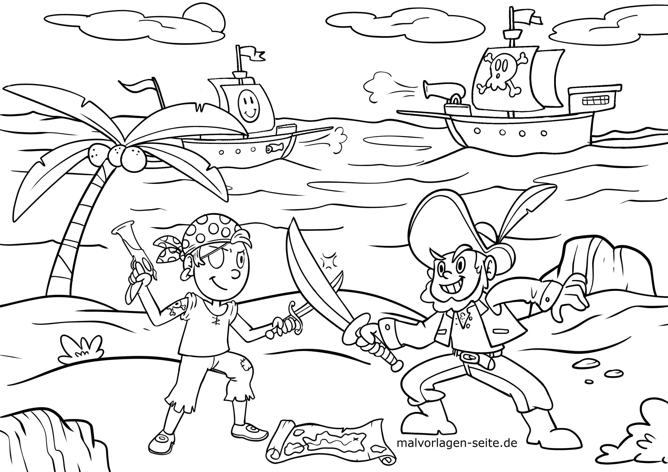 Malvorlage Piraten / Pirat - Ausmalbilder Kostenlos in Pirat Malvorlage