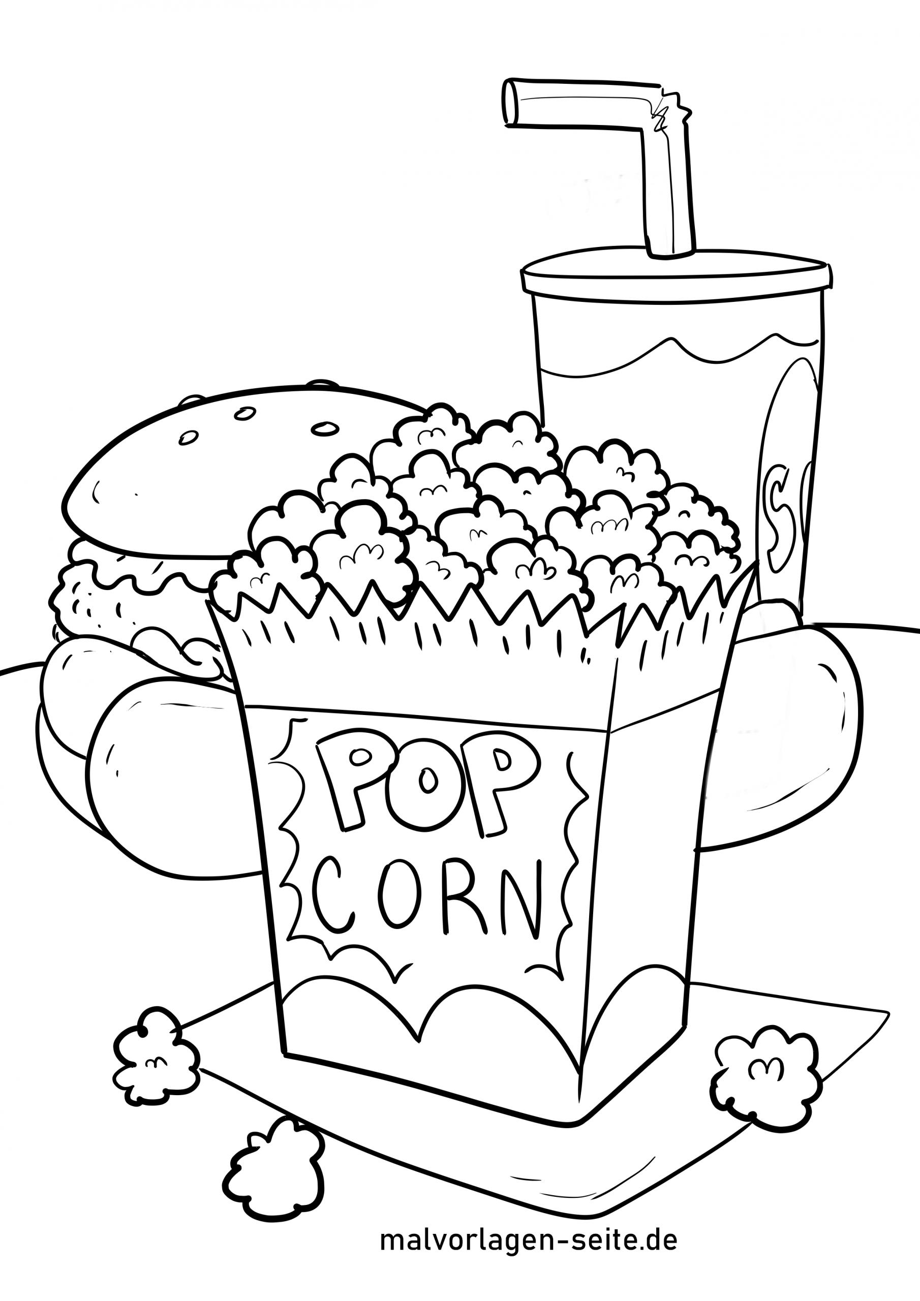 Malvorlage Popcorn - Essen - Ausmalbilder Kostenlos über Ausmalbilder Essen