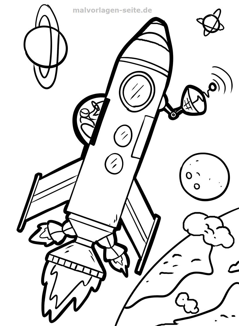 Malvorlage Rakete | Weltraum - Ausmalbilder Kostenlos in Ausmalbild Rakete