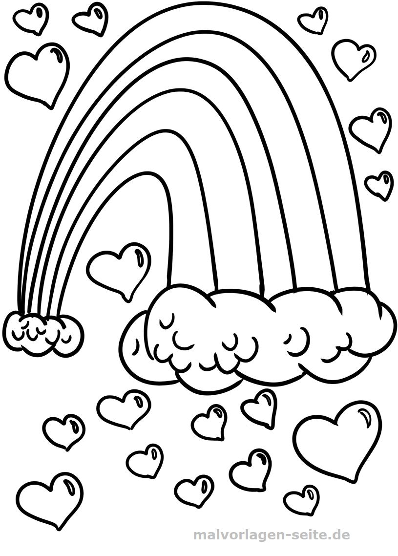 Malvorlage Regenbogen Herzen - Ausmalbilder Kostenlos innen Bastelvorlage Regenbogen