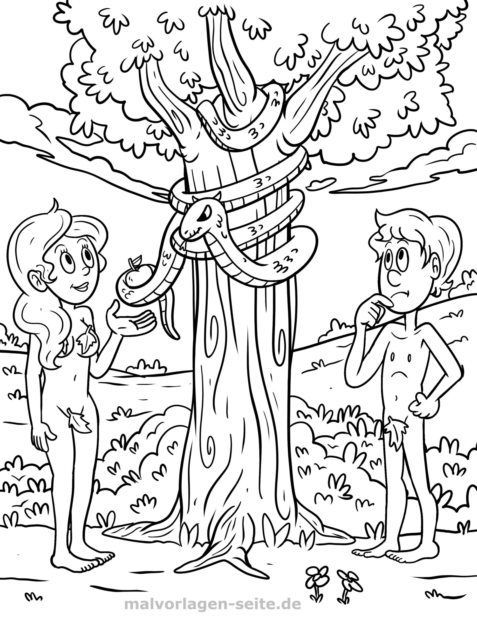 Malvorlage Religion - Adam Und Eva - Ausmalbilder Kostenlos für Malvorlage Adam Und Eva
