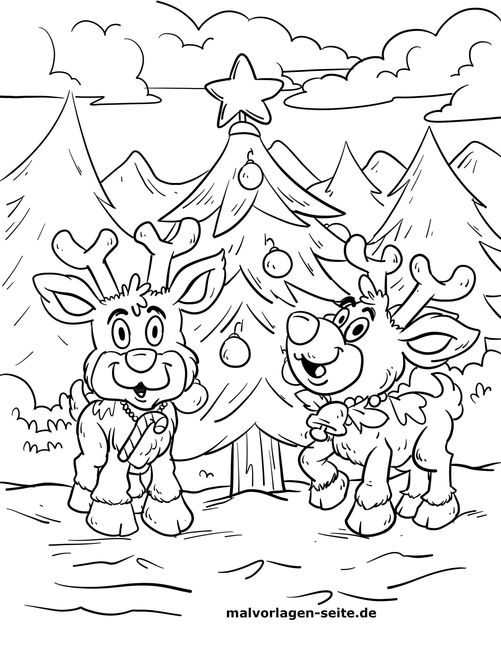 Malvorlage Rentiere Am Weihnachtsbaum   Weihnachten in Ausmalbilder Weihnachten