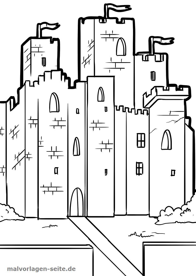 Malvorlage Ritterburg | Ritter Burg - Ausmalbilder Kostenlos mit Ausmalbild Burg