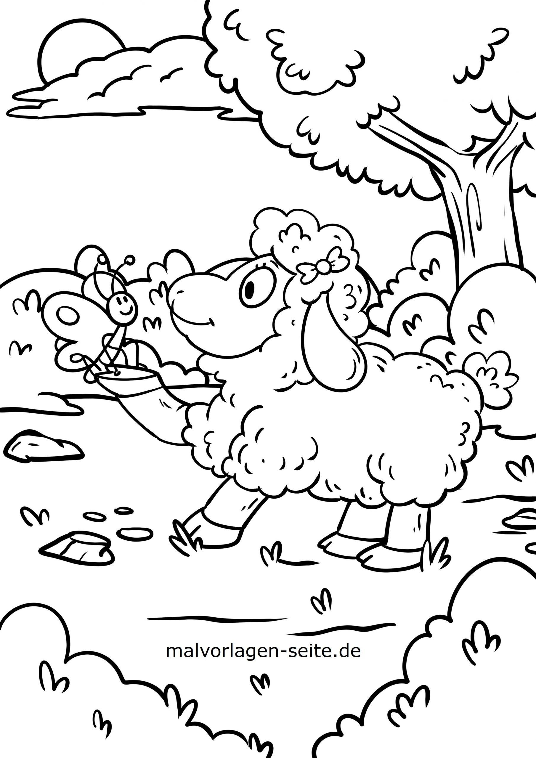 Malvorlage Schaf Und Schmetterling | Tiere - Ausmalbilder bei Schaf Malvorlage