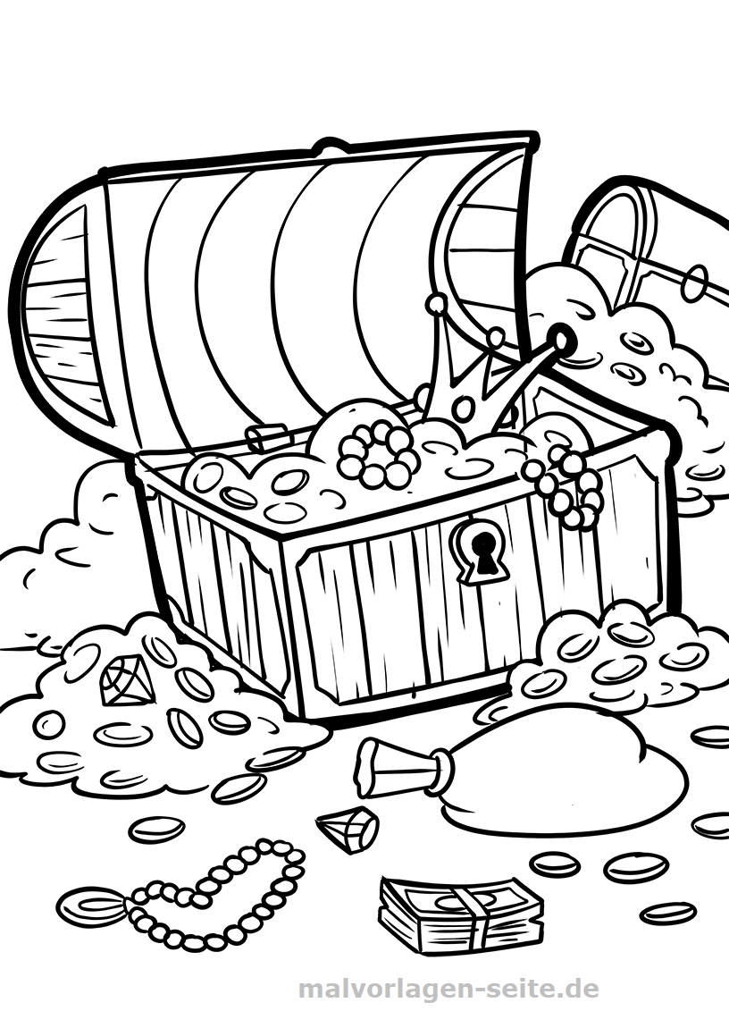Malvorlage Schatztruhe | Piraten - Ausmalbilder Kostenlos in Piraten Ausmalbilder