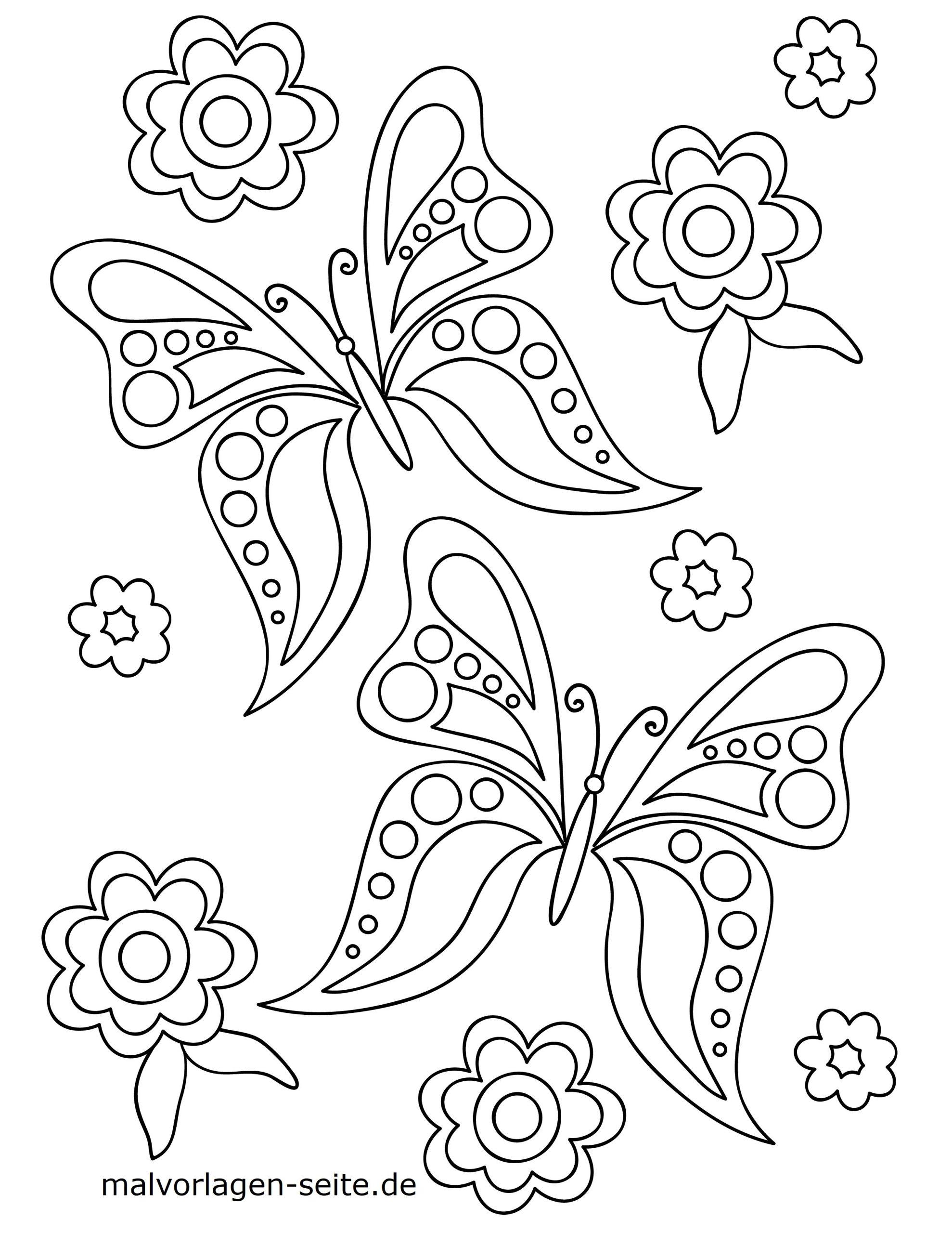 Malvorlage Schmetterling Und Blumen - Ausmalbilder Kostenlos verwandt mit Malvorlagen Schmetterlinge
