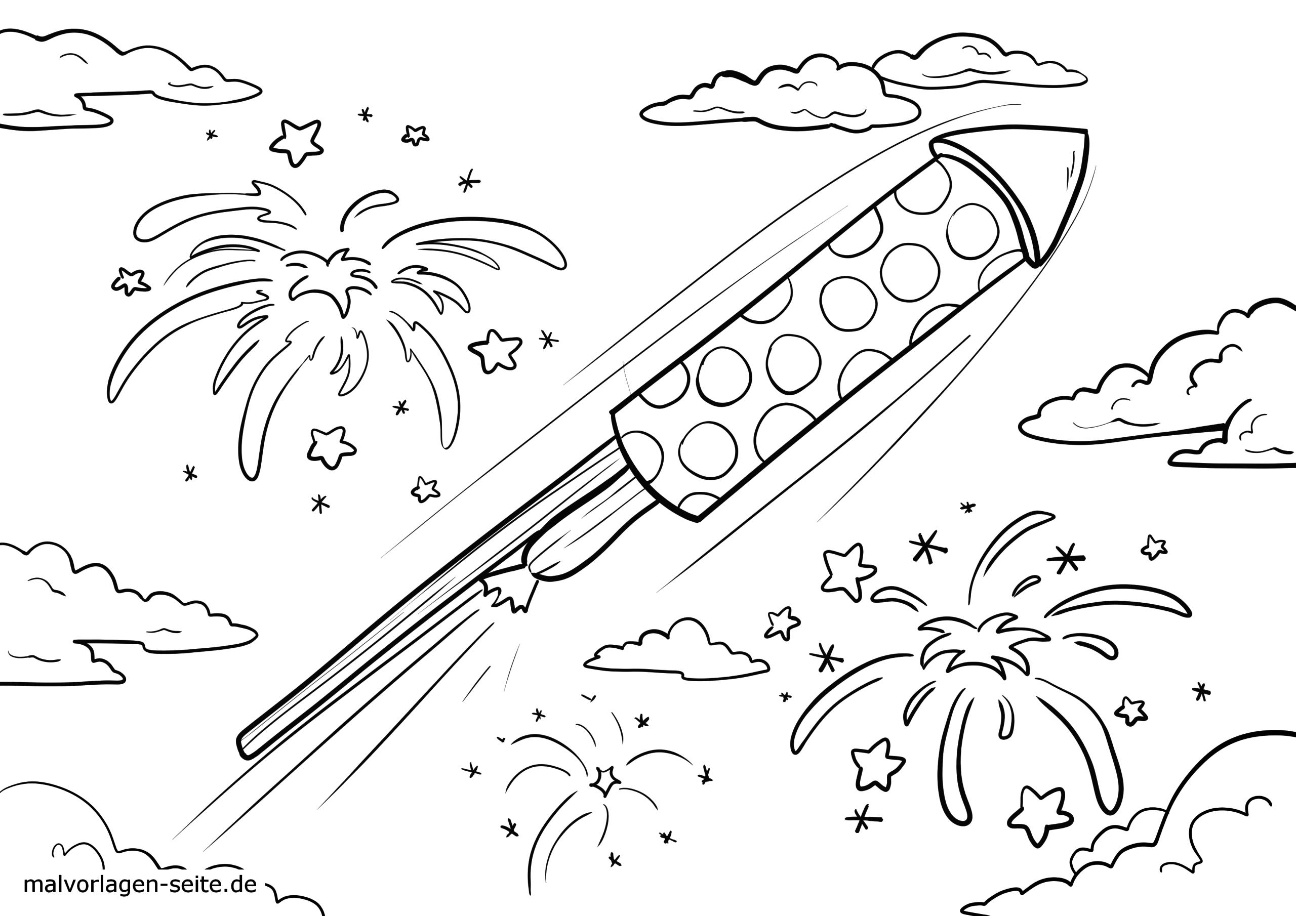malvorlage silvester rakete  feiertage  ausmalbilder in