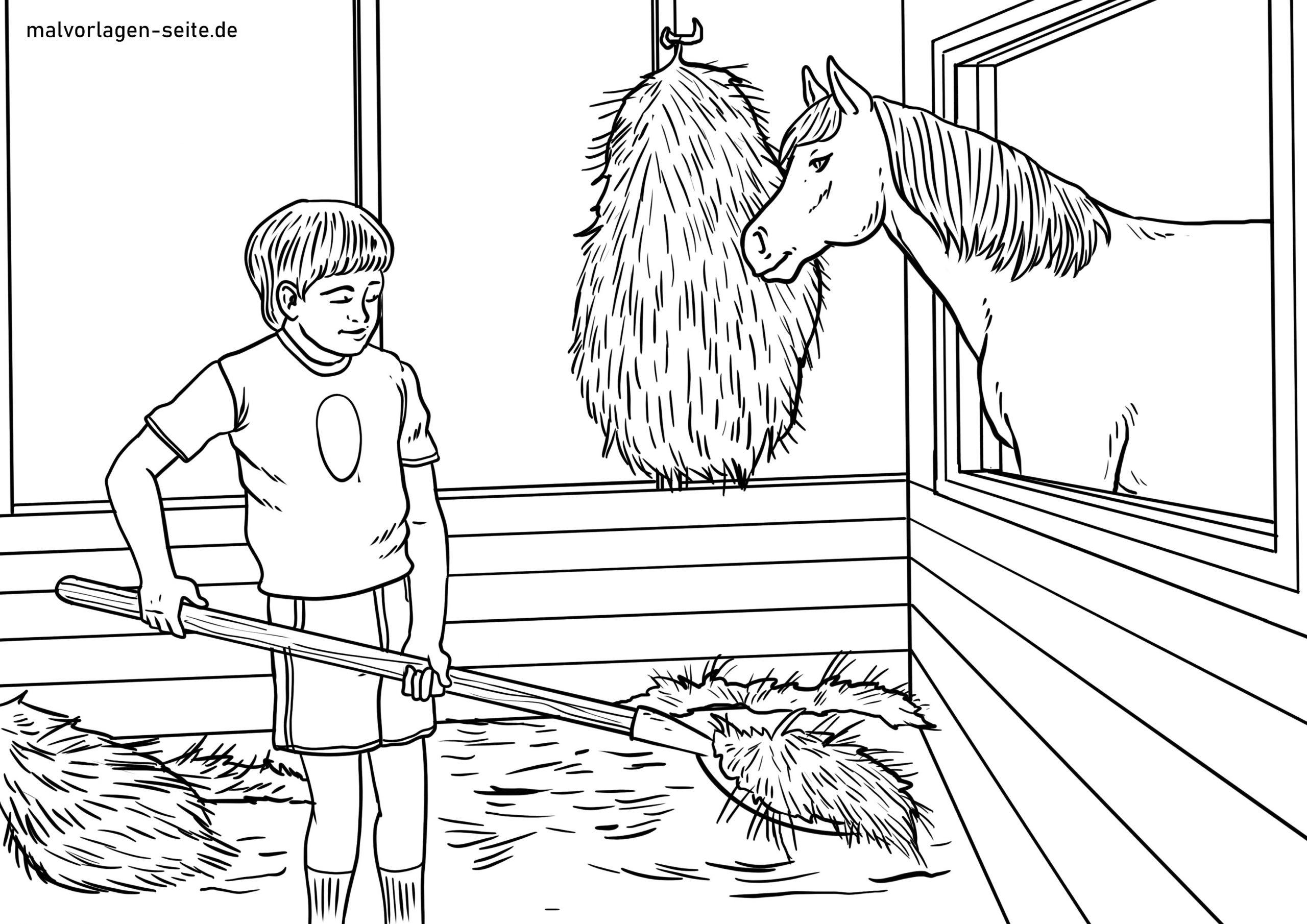 Malvorlage Stall Ausmisten | Bauernhof Tiere - Ausmalbilder ganzes Bauernhof Ausmalbilder