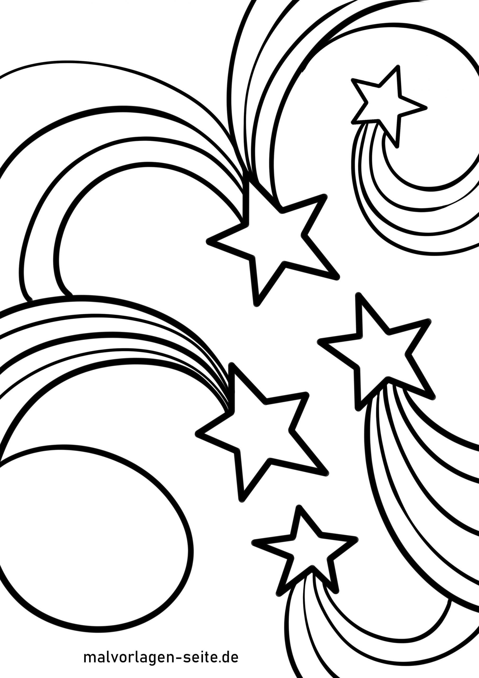 Malvorlage Sternschnuppe | Stern - Ausmalbilder Kostenlos mit Malvorlage Stern Groß