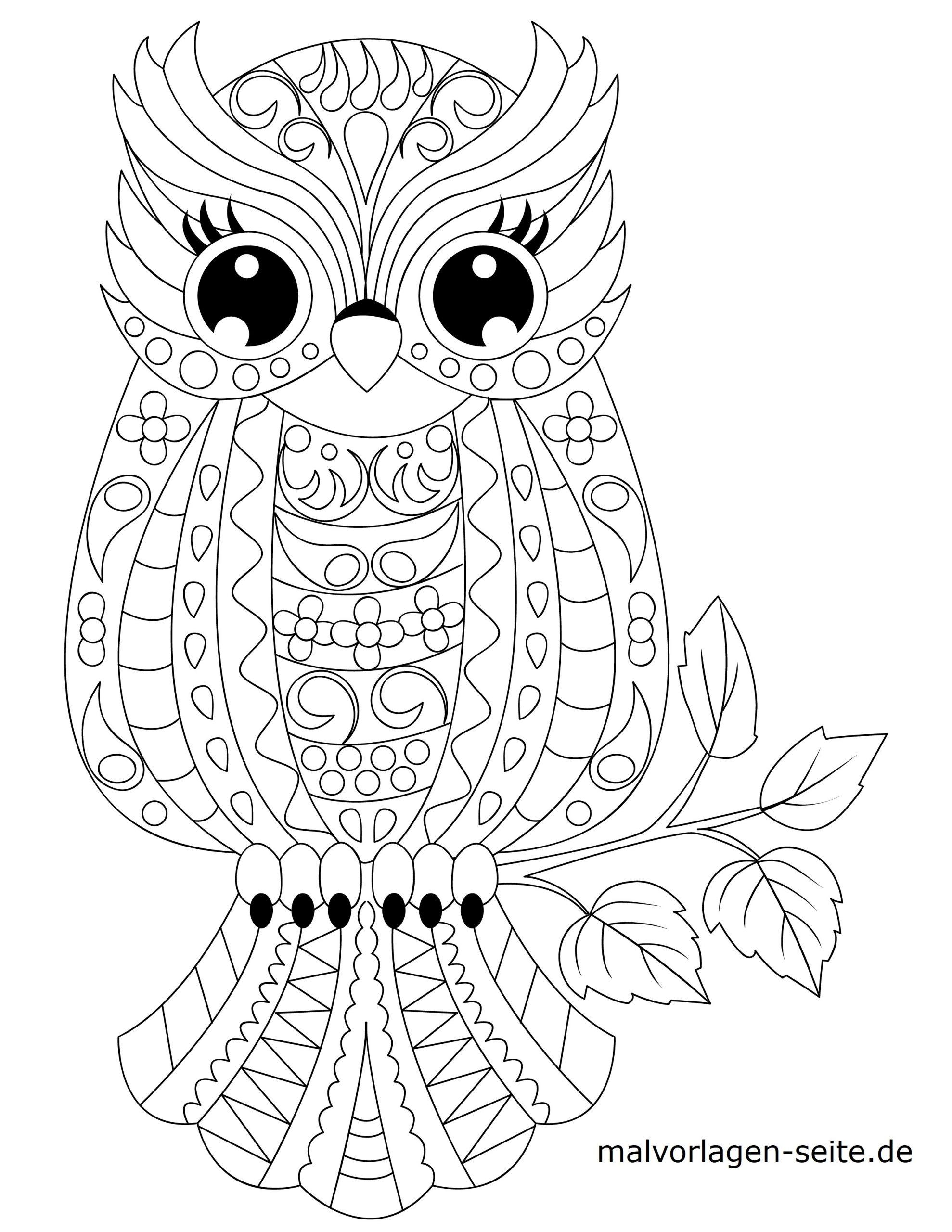 Malvorlage Tiermandala Eule | Tiere Mandala - Ausmalbilder für Ausmalbilder Mandala