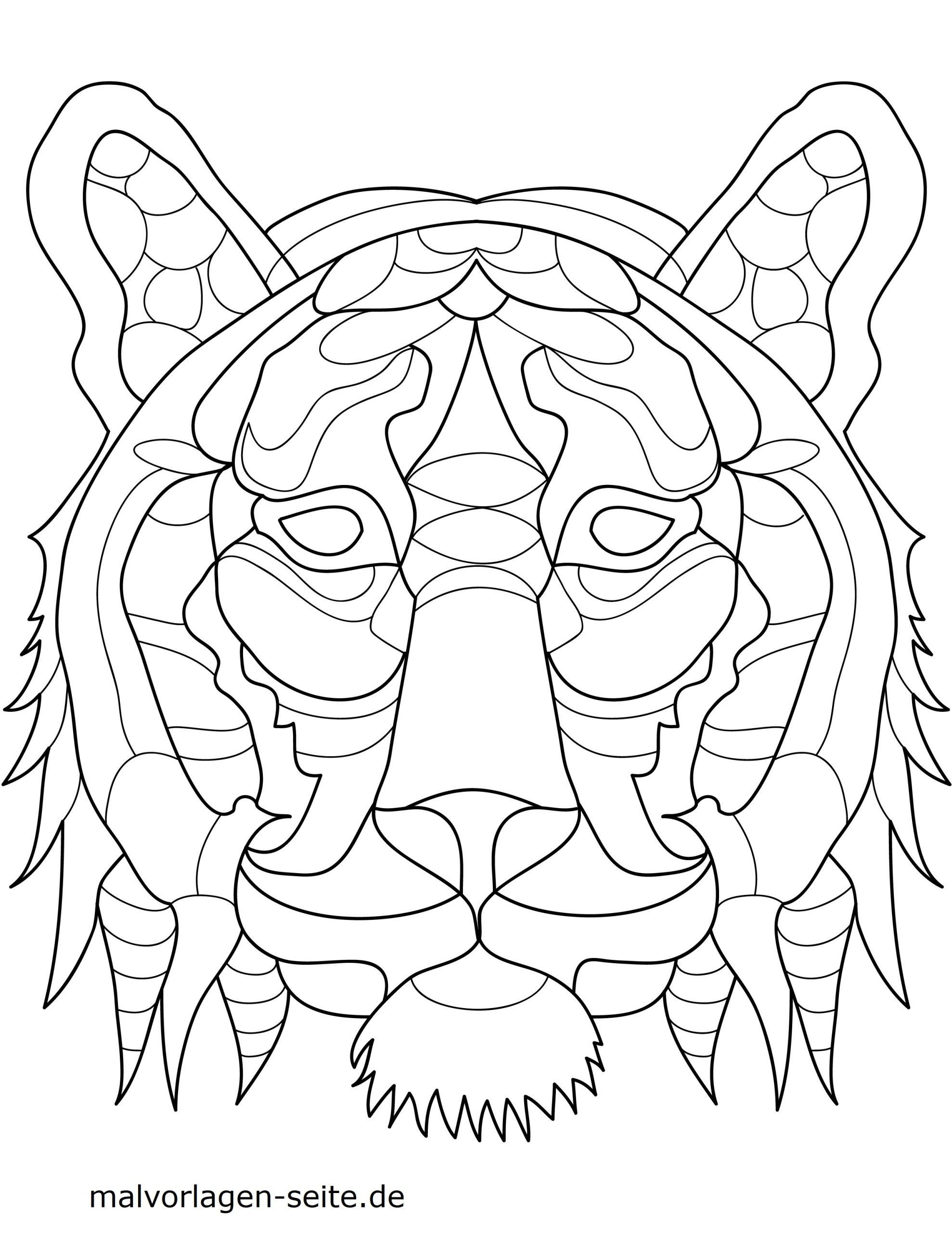 Malvorlage Tiermandala Tiger | Tiere Mandalas - Ausmalbilder ganzes Tier Mandalas