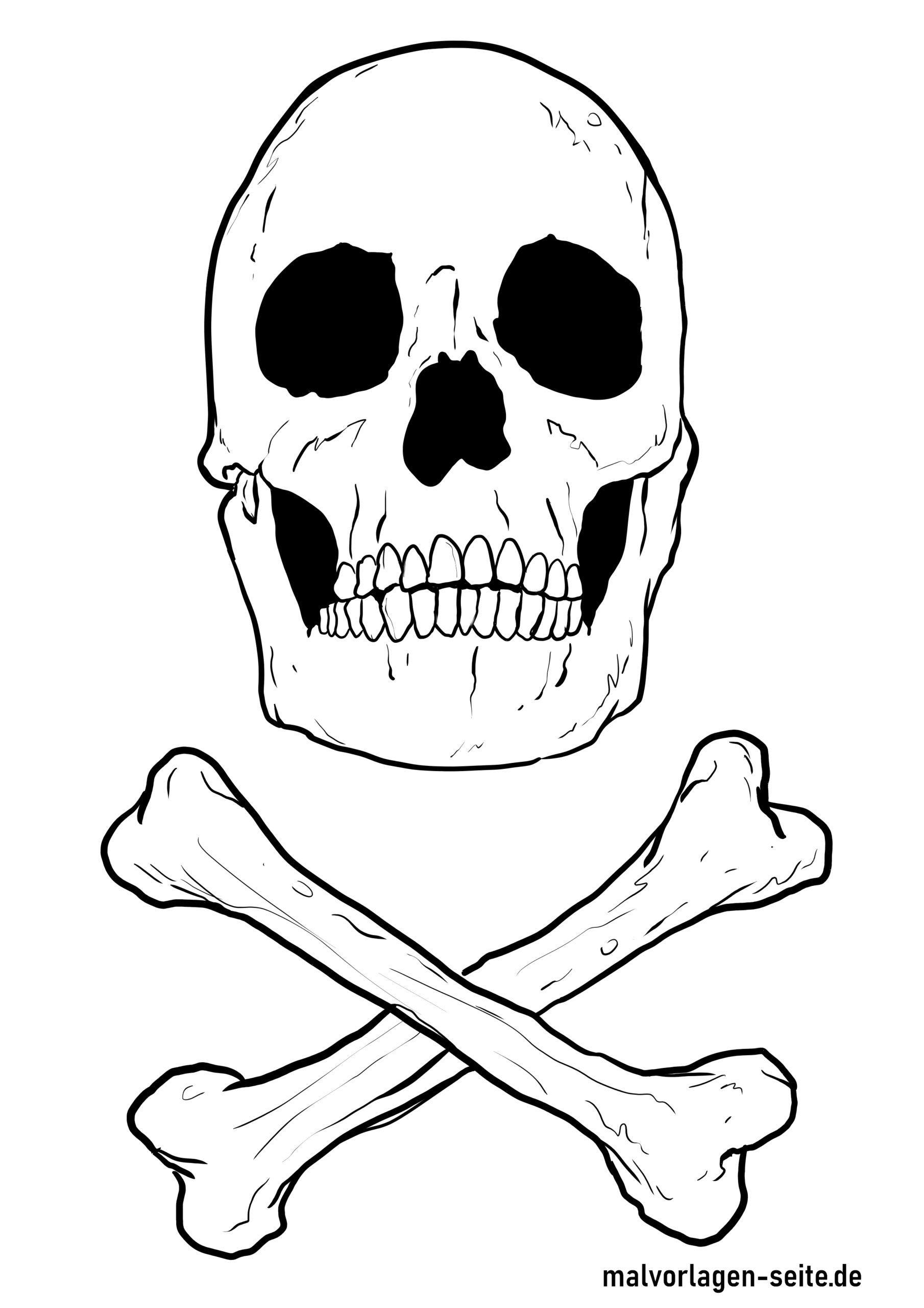 Malvorlage Totenkopf - Ausmalbilder Kostenlos Herunterladen in Totenkopf Bilder Zum Ausmalen