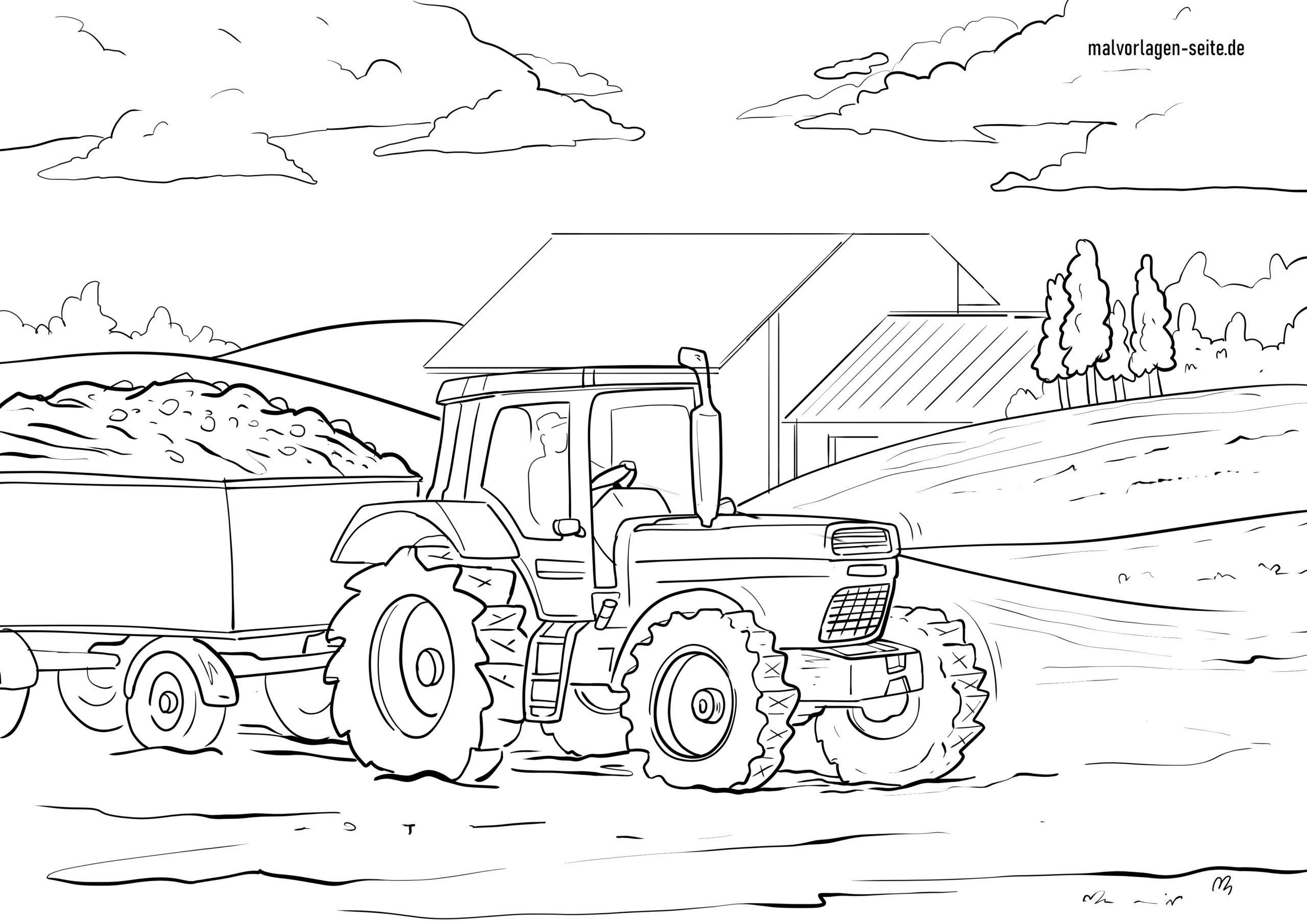Malvorlage Traktor - Ausmalbilder Kostenlos Herunterladen innen Trecker Ausmalbild