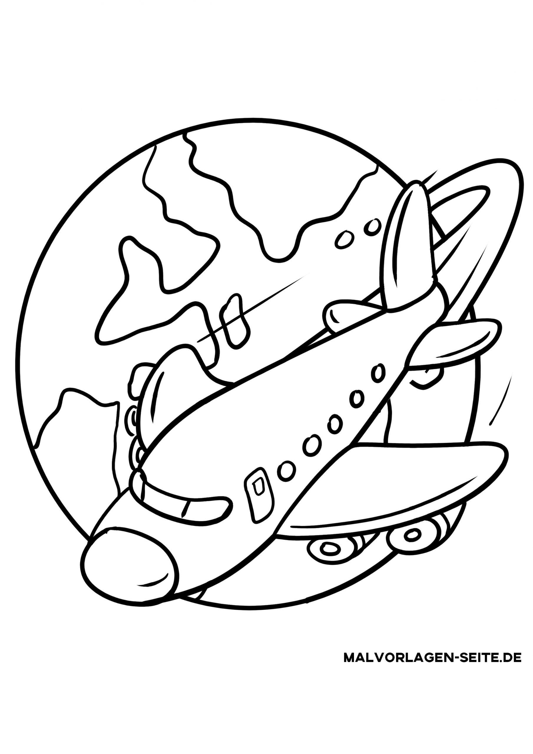 Malvorlage Urlaub - Flugzeug - Ausmalbilder Kostenlos für Flugzeug Malvorlagen