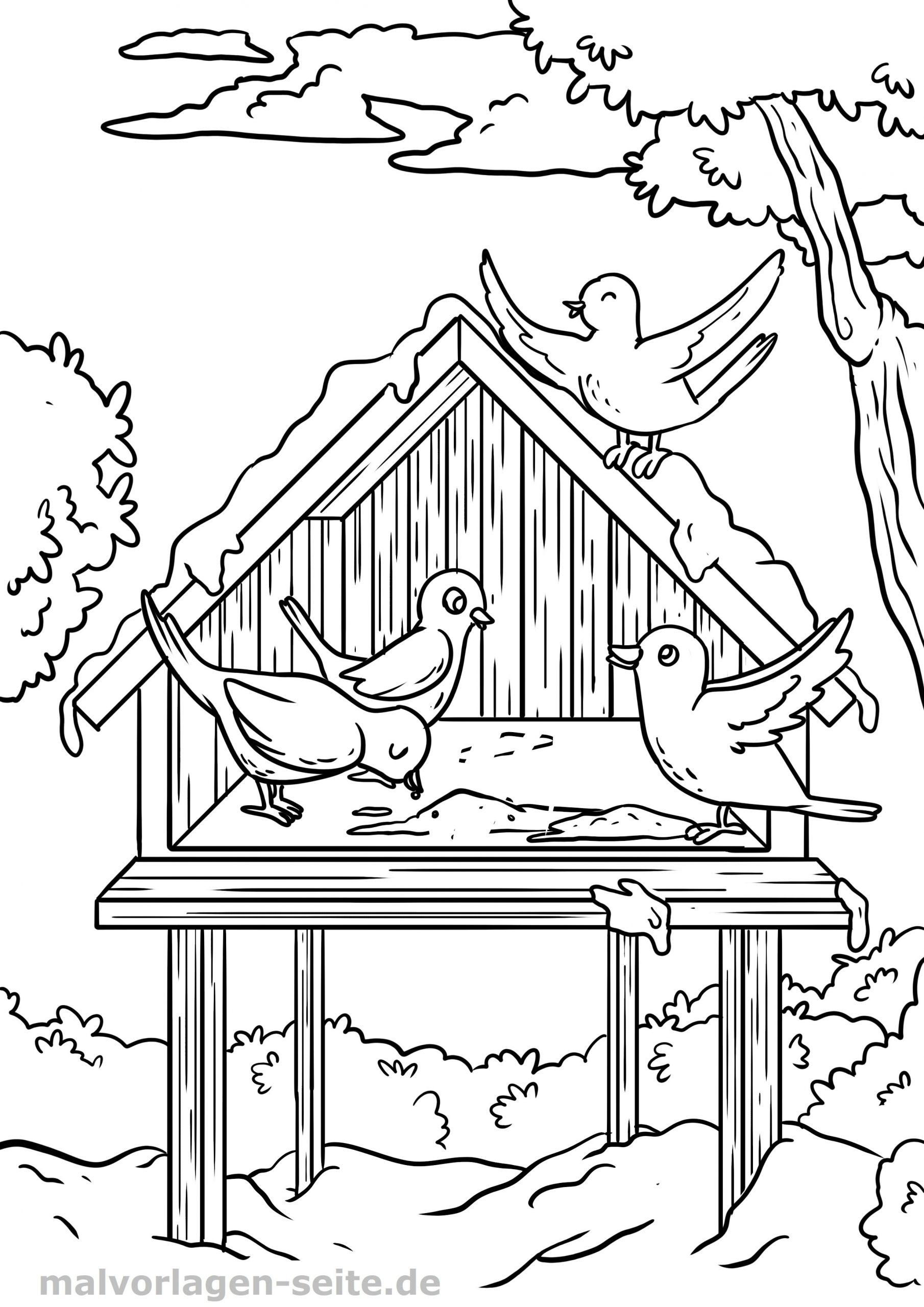 Malvorlage Vogel Im Winter Vogelhäuschen - Ausmalbilder verwandt mit Ausmalbild Winter