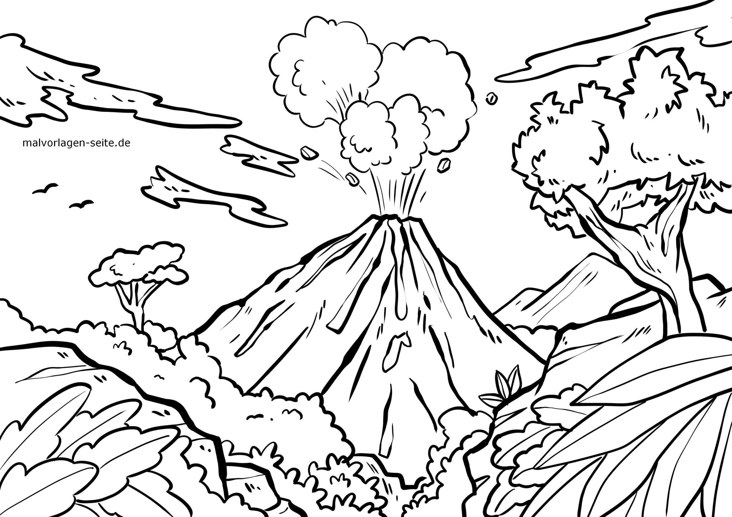 Malvorlage Vulkan | Urlaub Reisen - Ausmalbilder Kostenlos innen Ausmalbild Vulkan